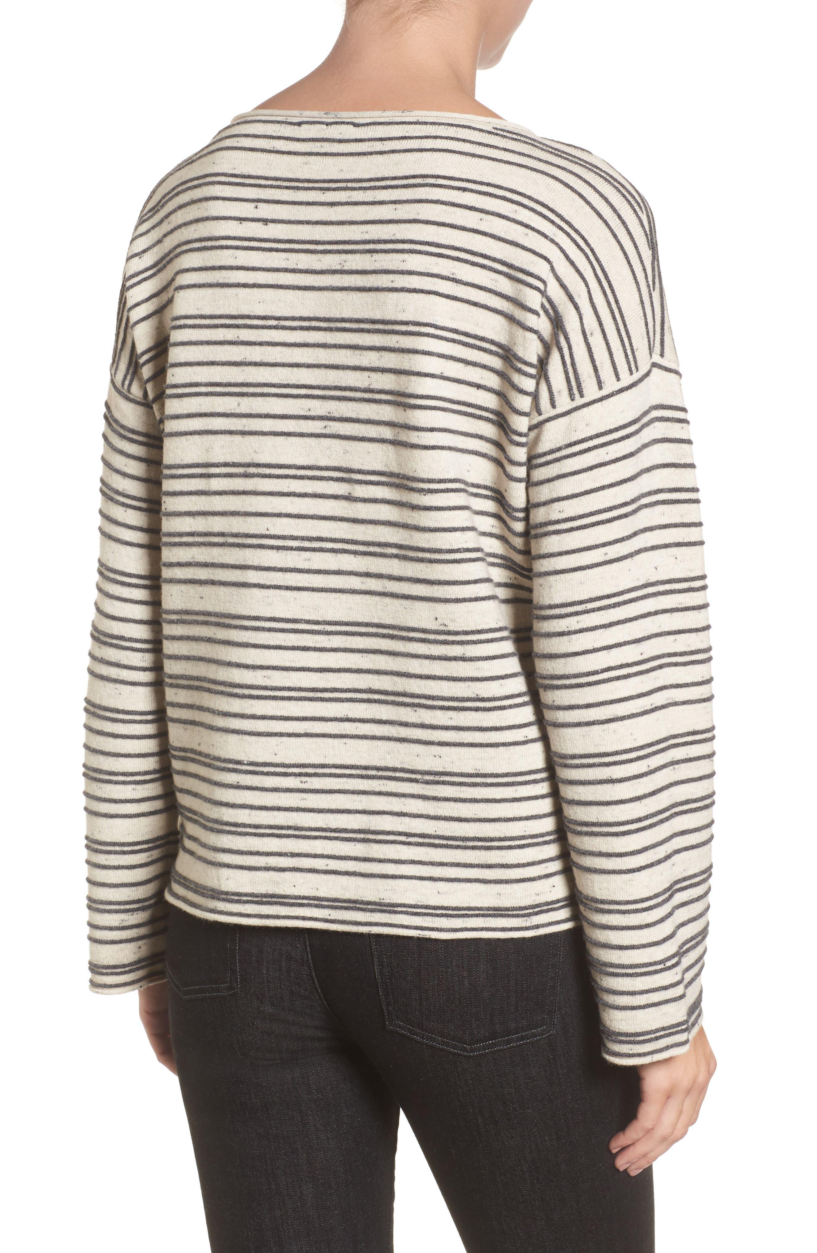Stripe Organic Cotton Blend Sweater,                             Alternate thumbnail 2, color,                             Maple Oat