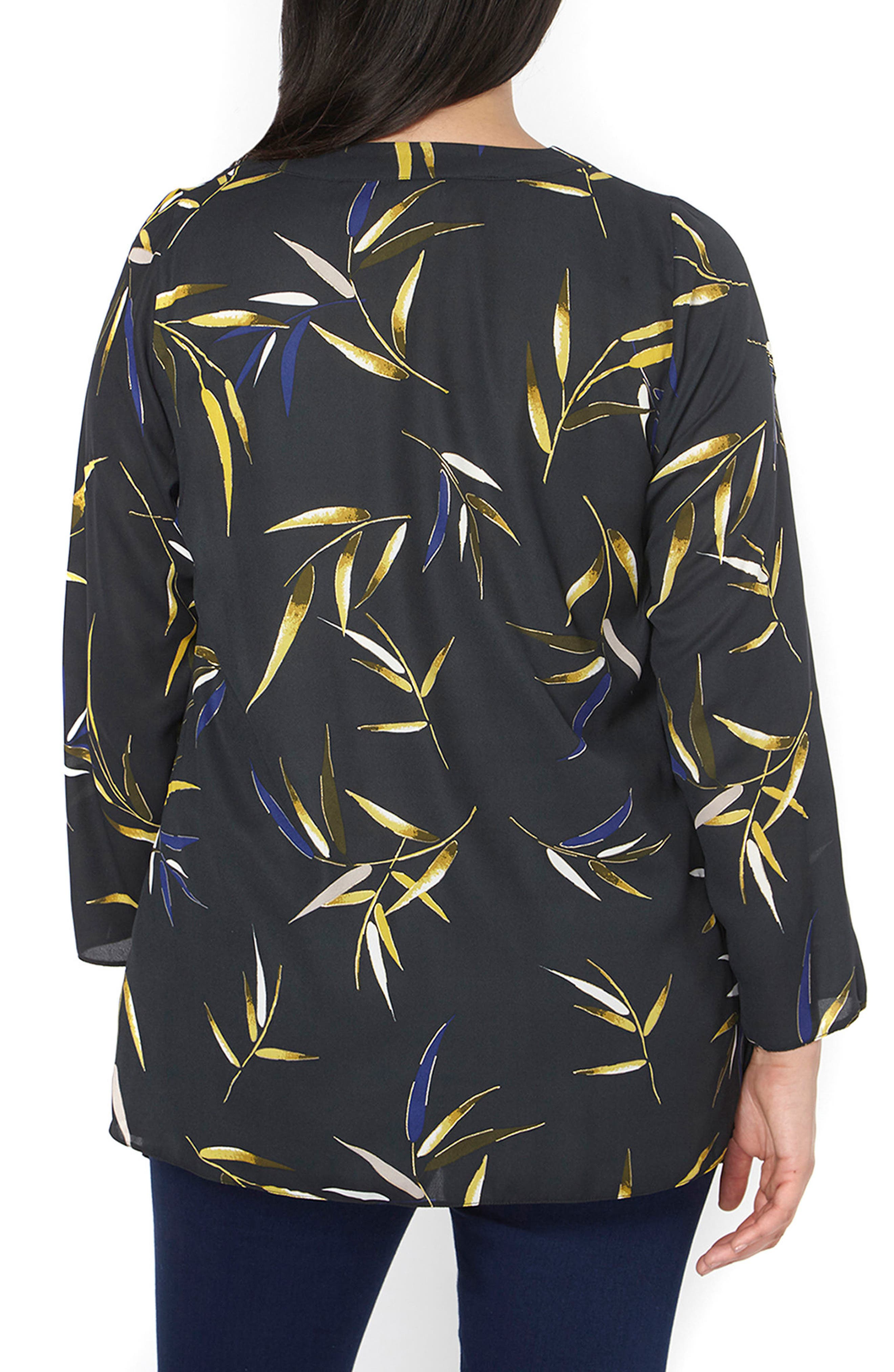 Alternate Image 2  - Evans Foiled Leaf Print Kimono Jacket (Plus Size)
