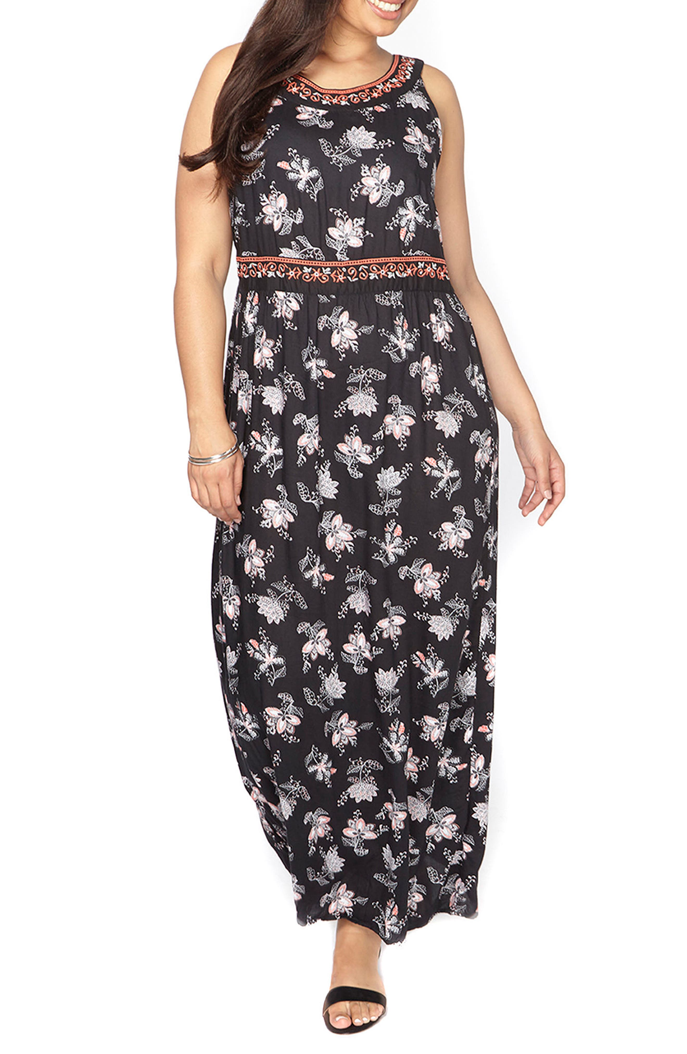 Evans Embroidered Floral Maxi Dress (Plus Size)