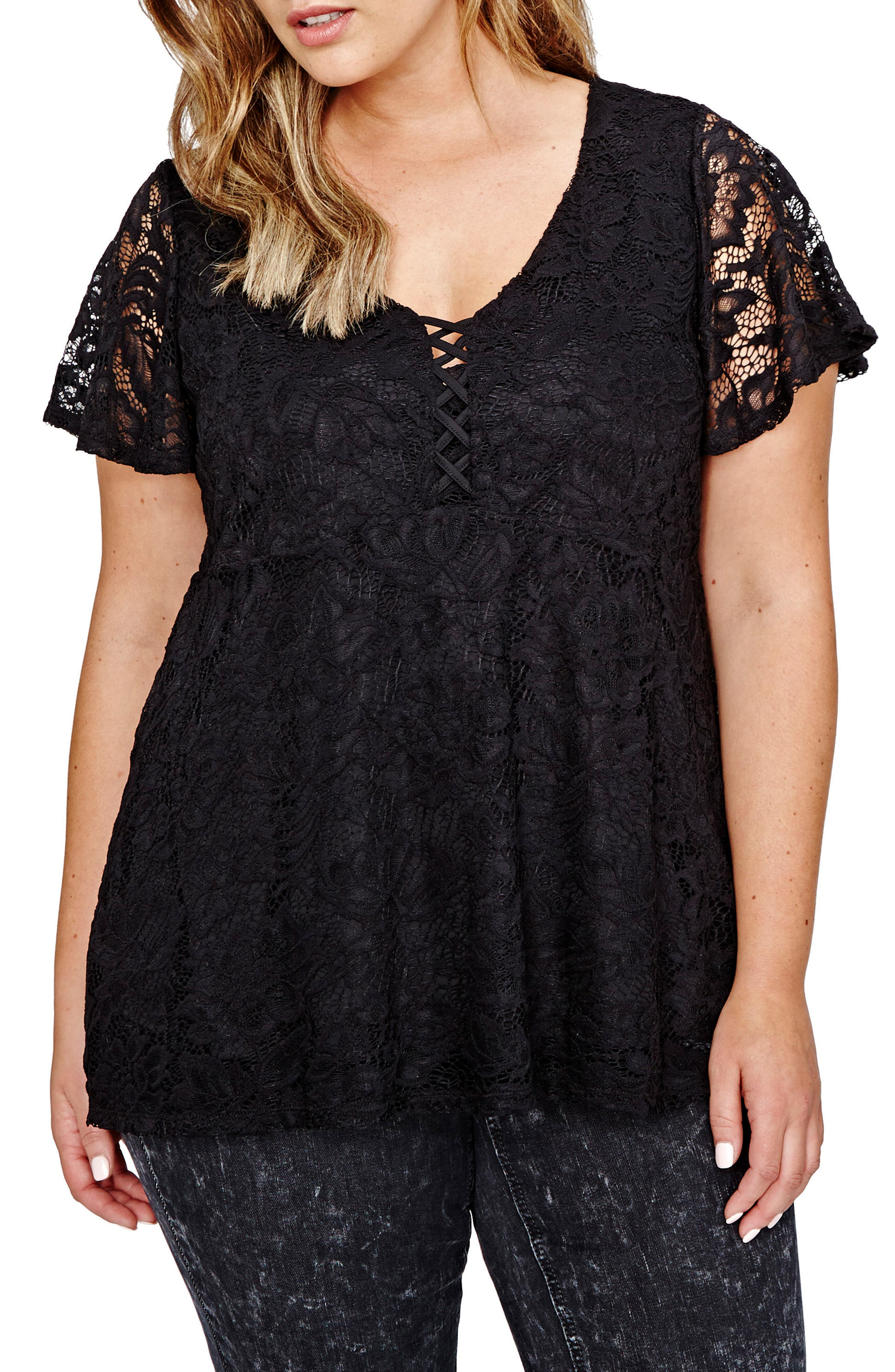 V-Neck Lace Babydoll Top,                         Main,                         color, Black