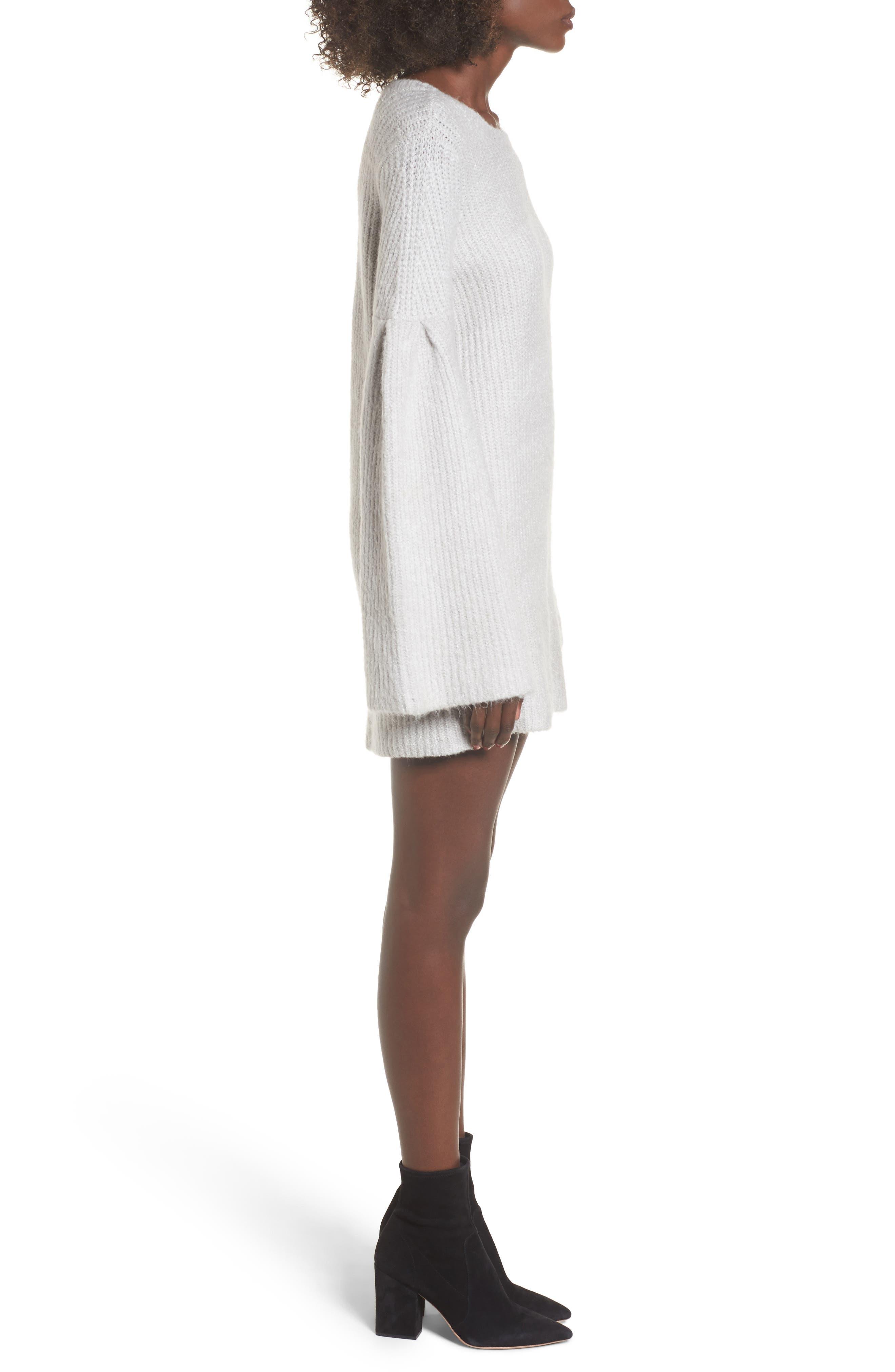 Gemstone Sweater Dress,                             Alternate thumbnail 3, color,                             Warm Grey