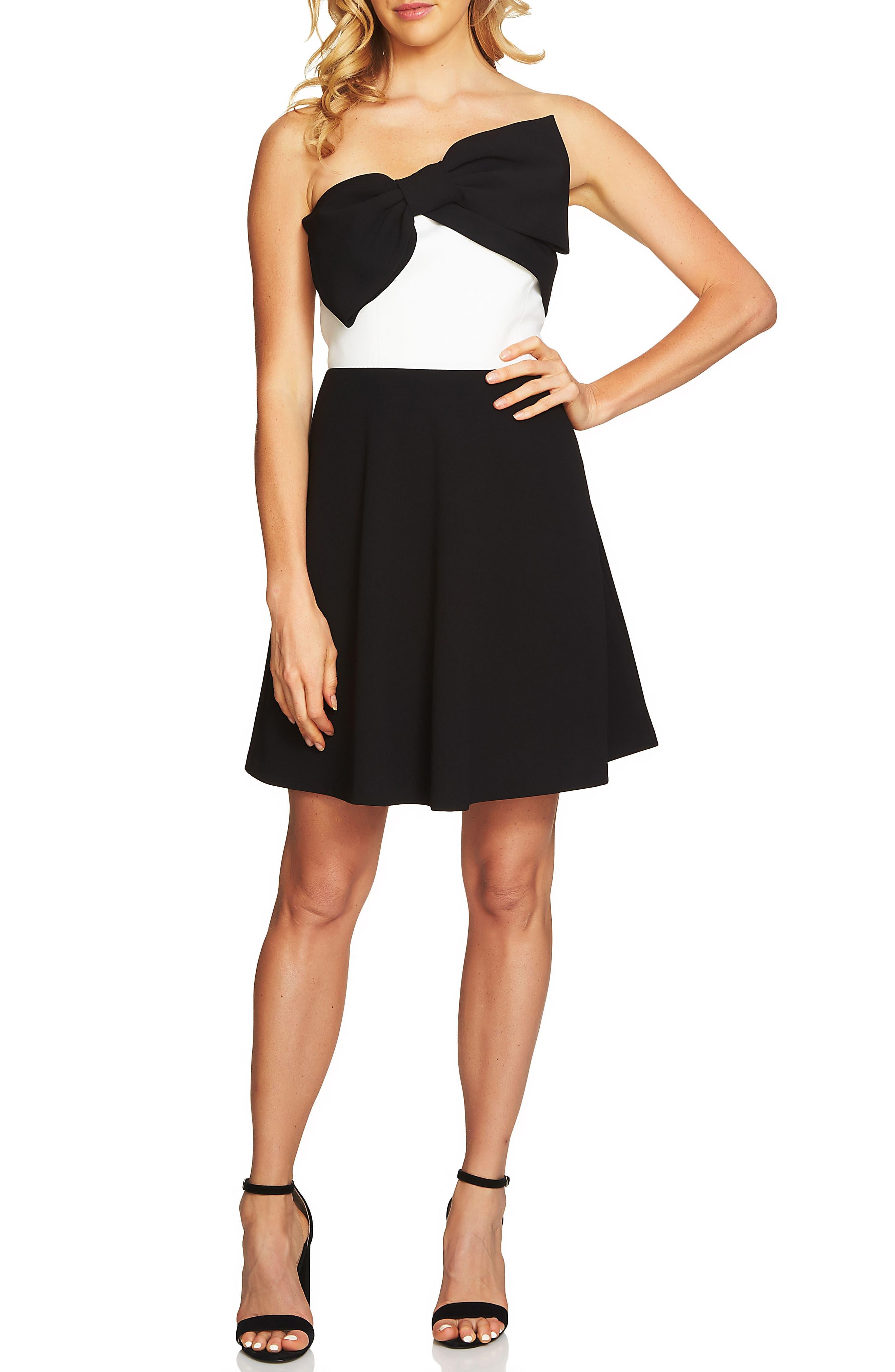 CeCe Strapless Colorblock Fit & Flare Dress