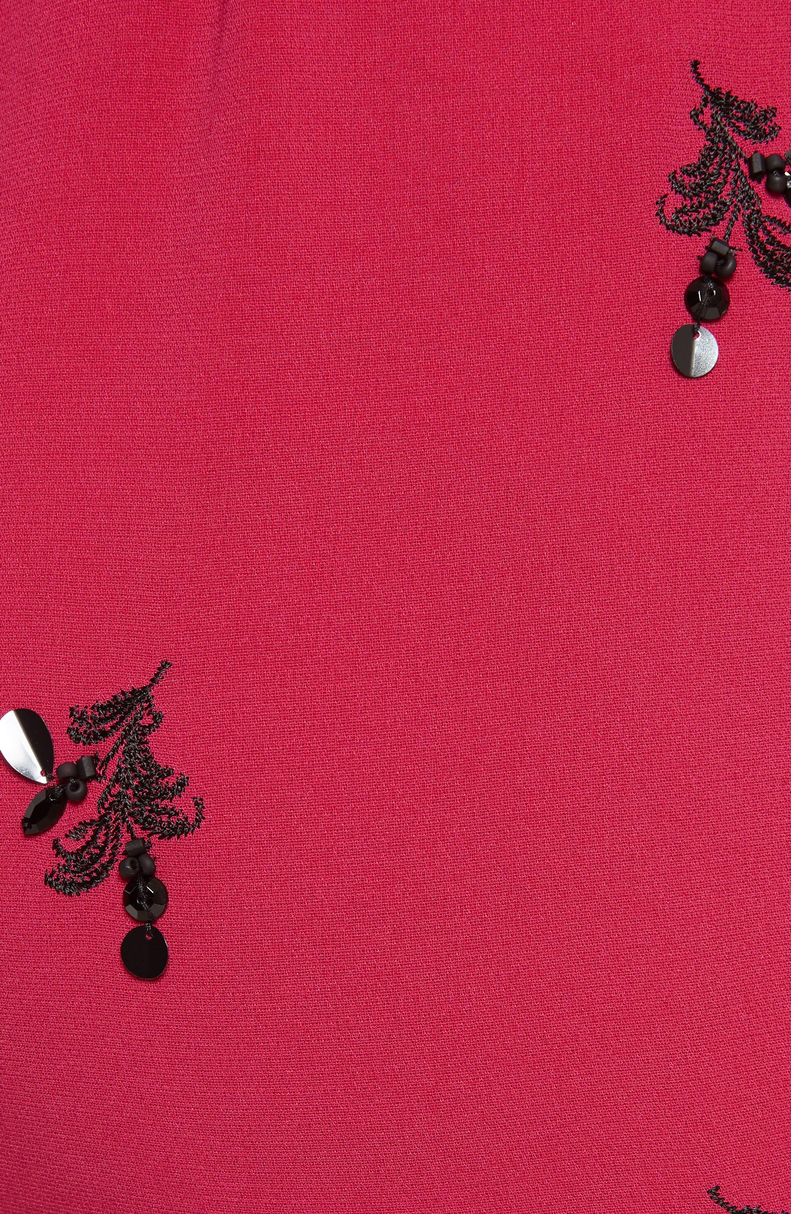 Gal Embroidered Lace-Up Back Dress,                             Alternate thumbnail 5, color,                             Cerise/ Black