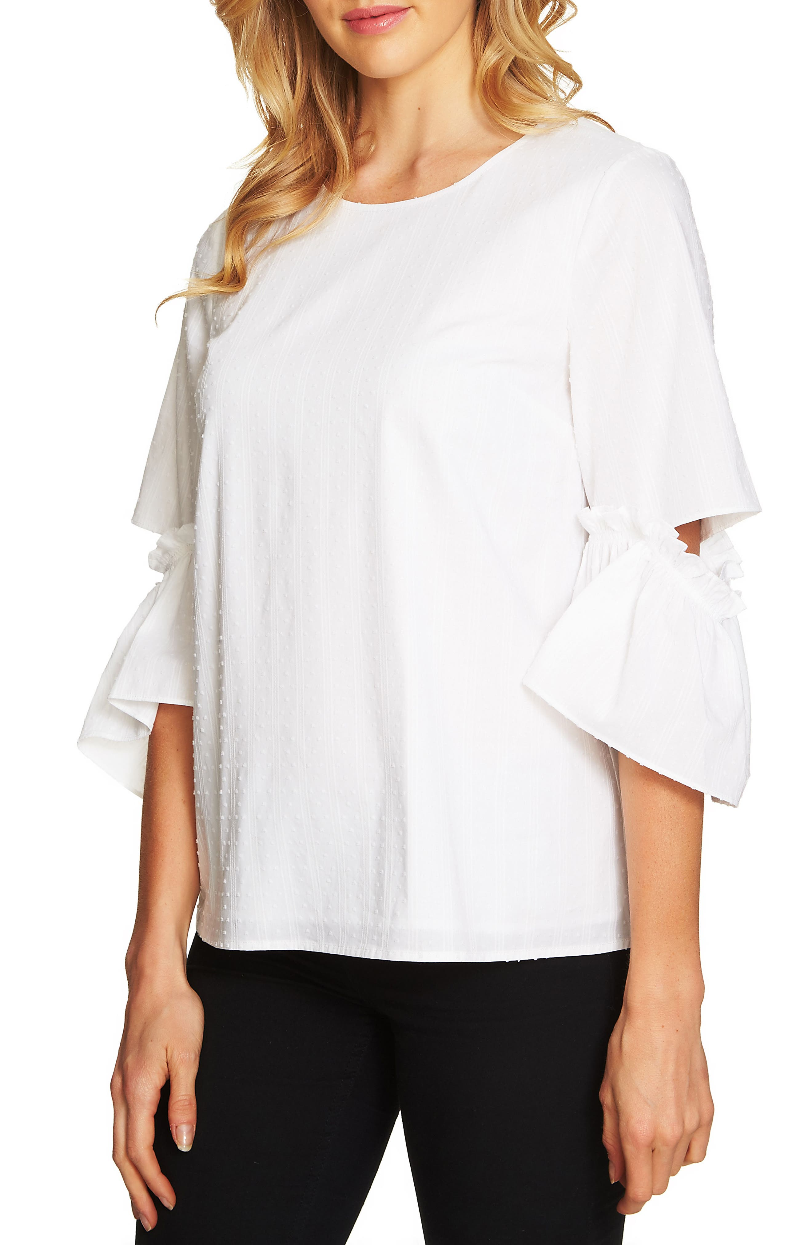 CeCe Textured Ruffle Sleeve Top