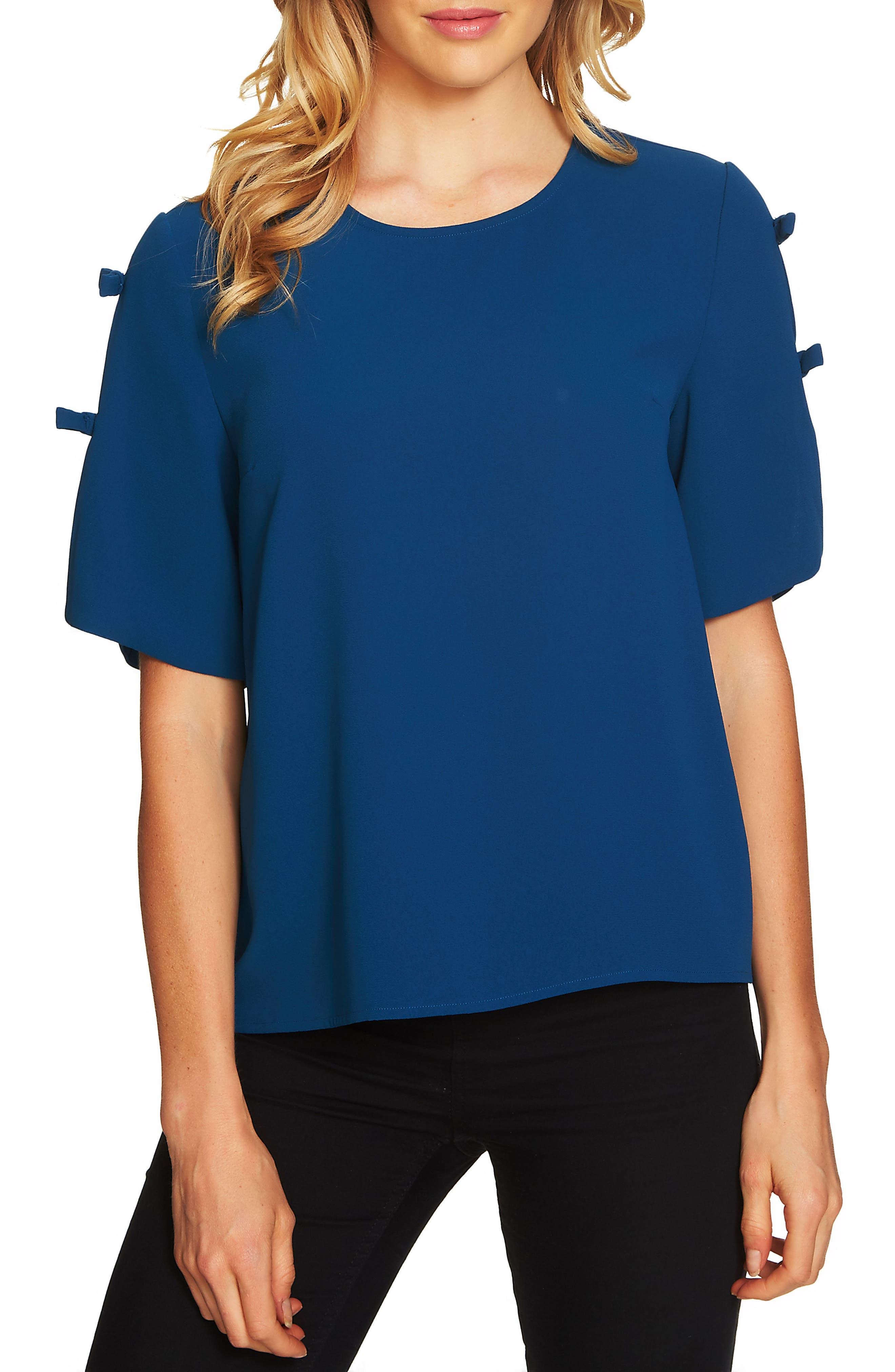 Moss Split Sleeve Blouse,                         Main,                         color, Port Blue