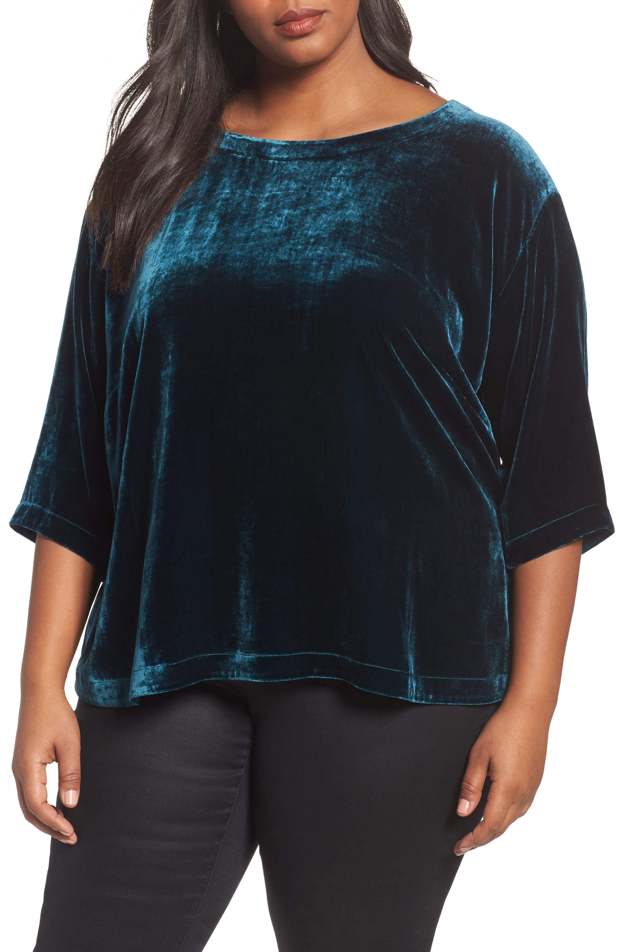 Main Image - Eileen Fisher Boxy Velvet Top (Plus Size)