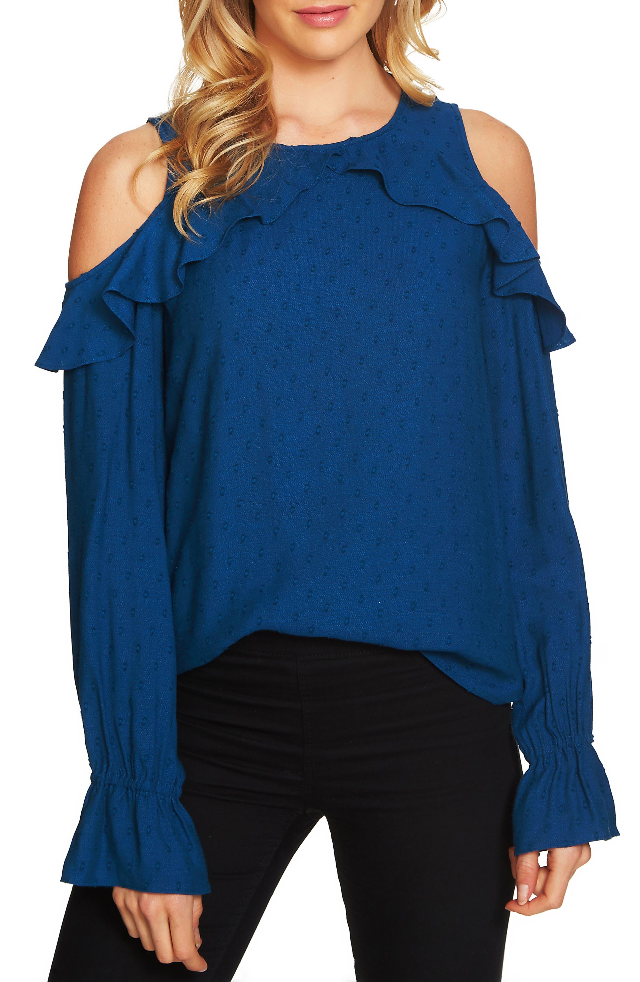 Ruffle Cold Shoulder Top,                         Main,                         color, Port Blue