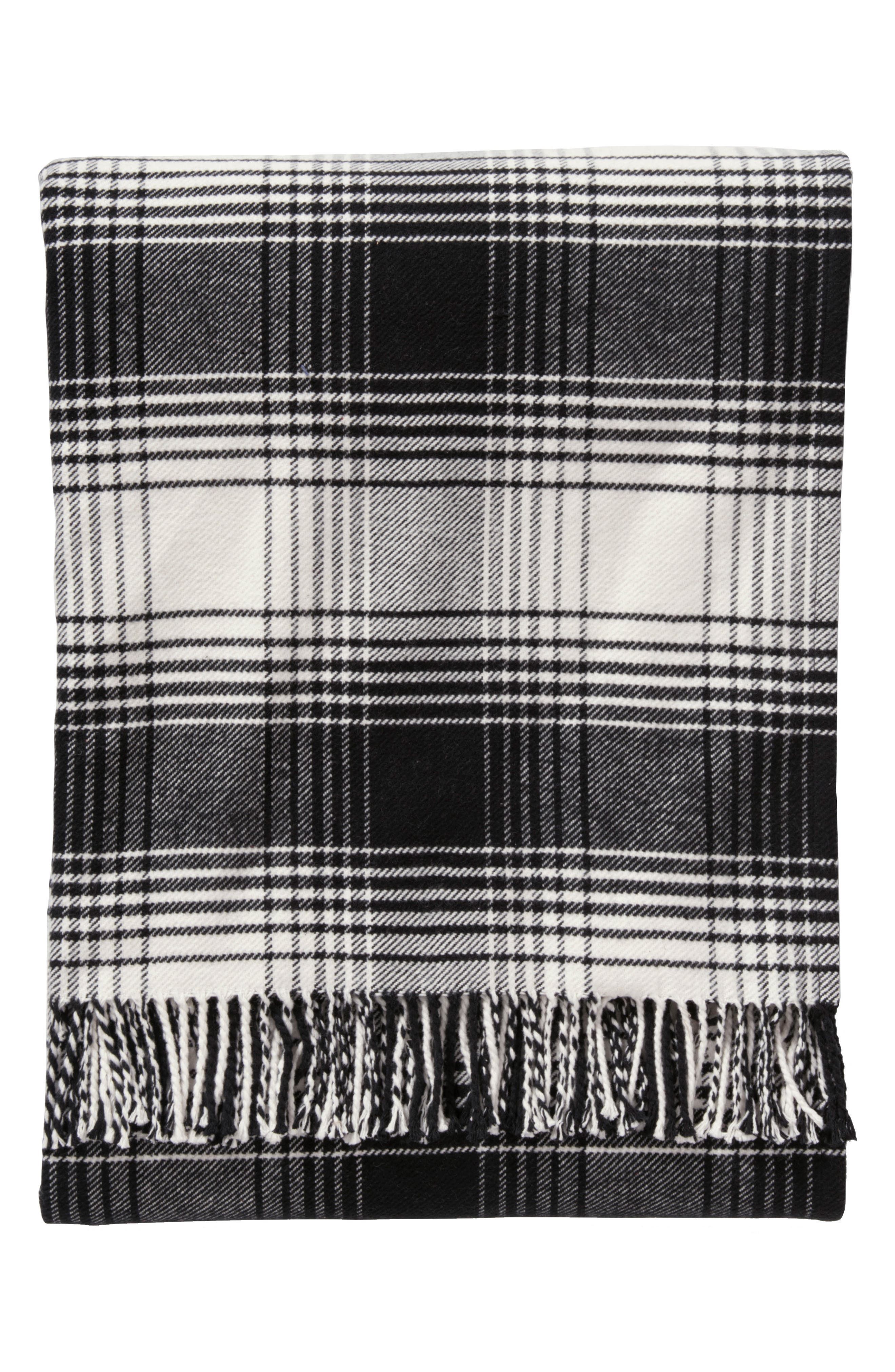 Warren Plaid Throw,                             Main thumbnail 1, color,                             Black And White