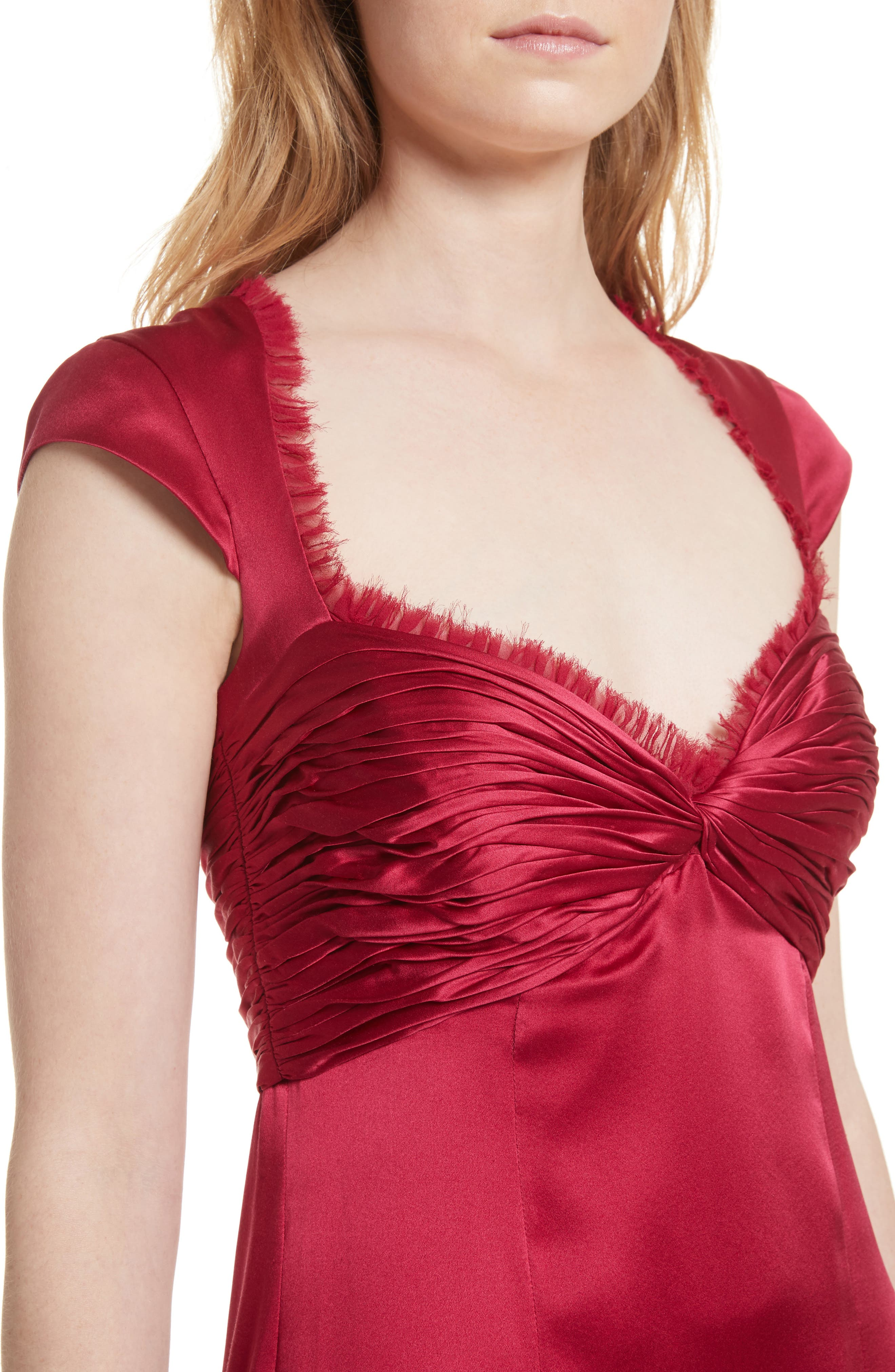 Marnie Satin Dress,                             Alternate thumbnail 4, color,                             Cerise