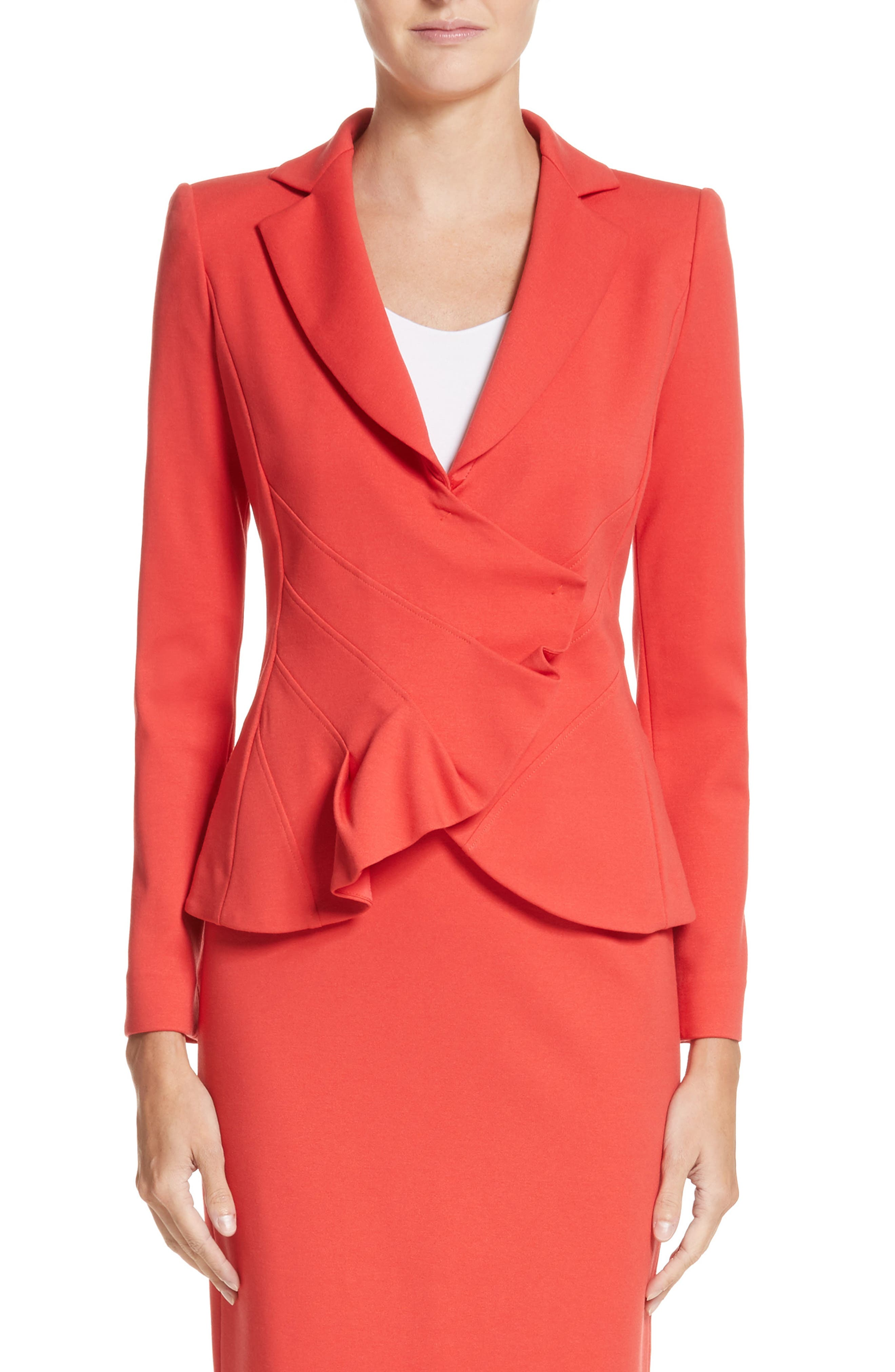 Asymmetrical Pleated Front Jacket,                         Main,                         color, Solid Bright Orange