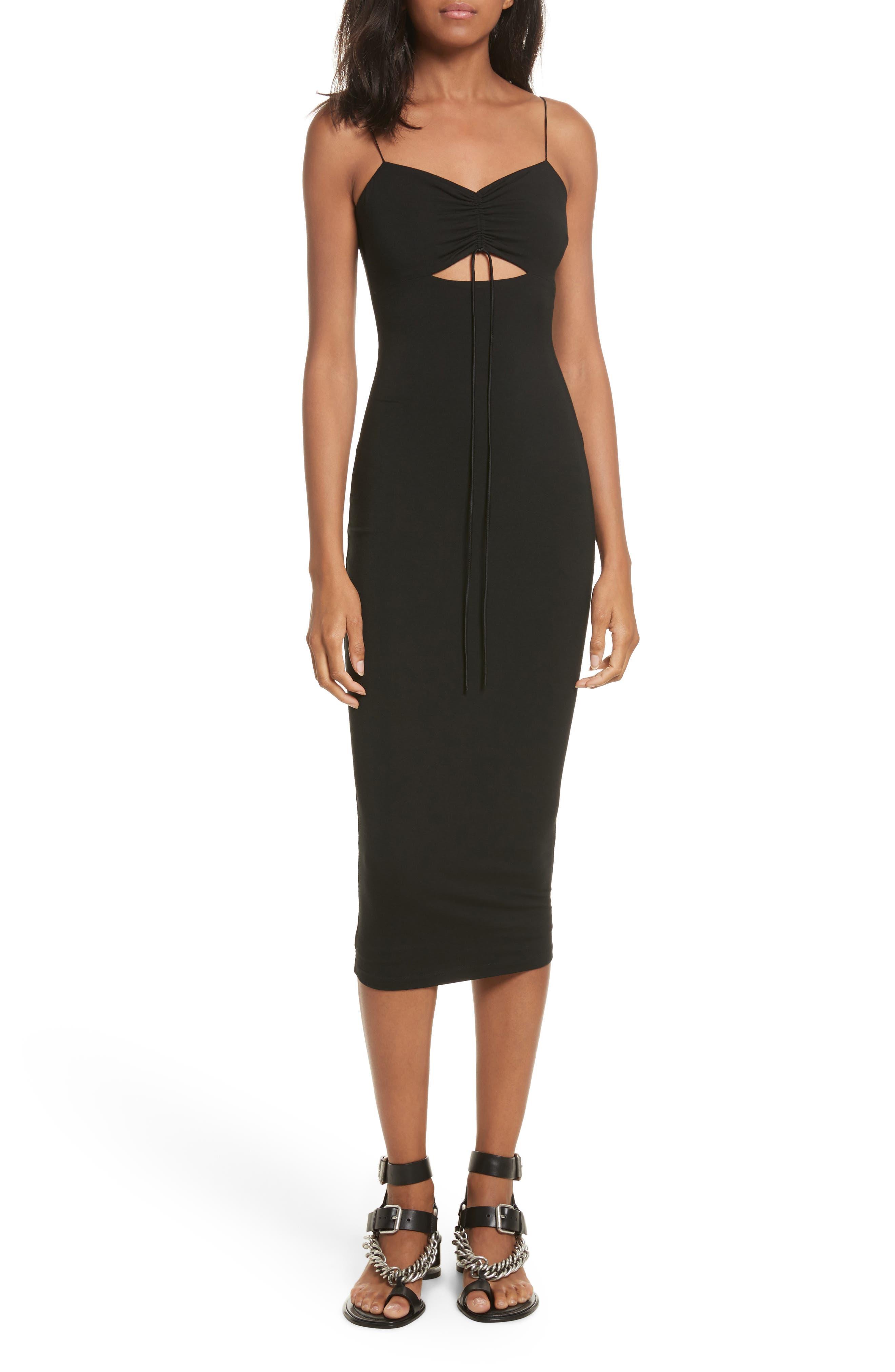 Cutout Stretch Jersey Midi Dress,                         Main,                         color, Black