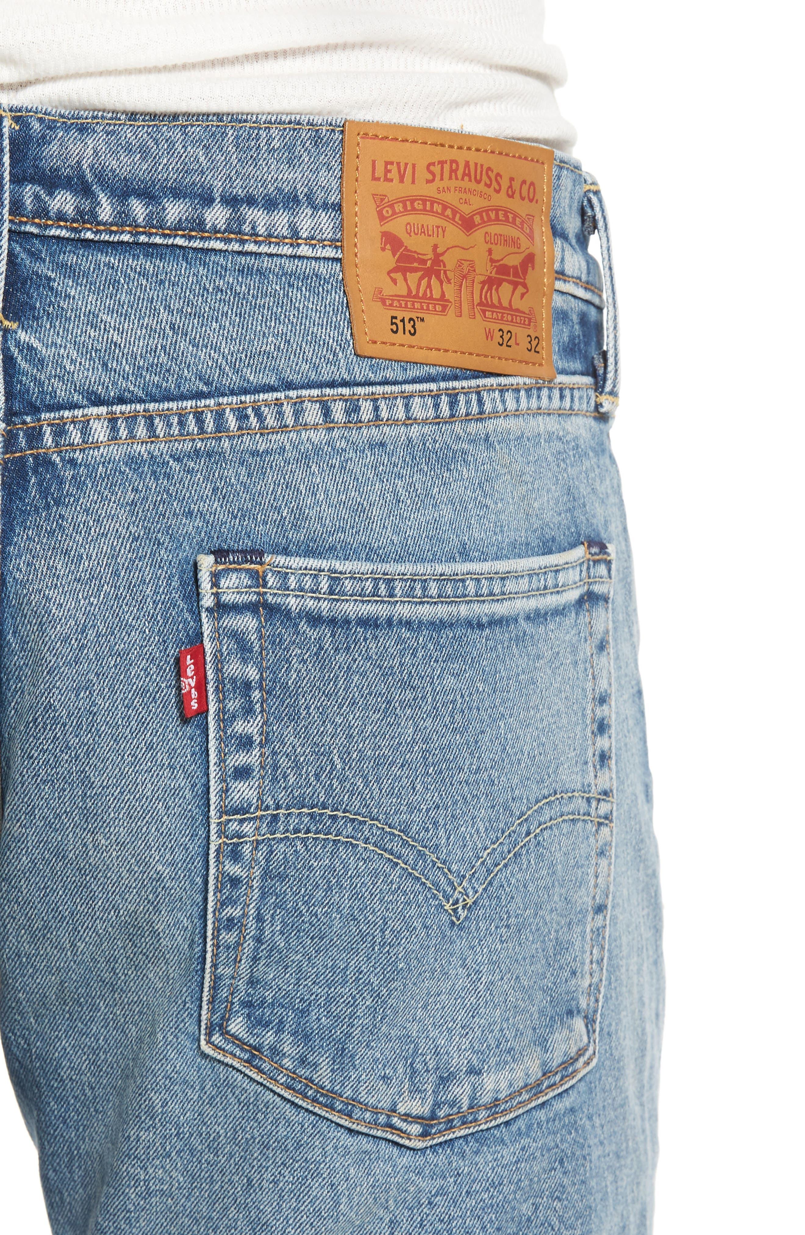 Alternate Image 4  - Levi's® 513™ Slim Straight Leg Jeans (Light Blue Rolf)