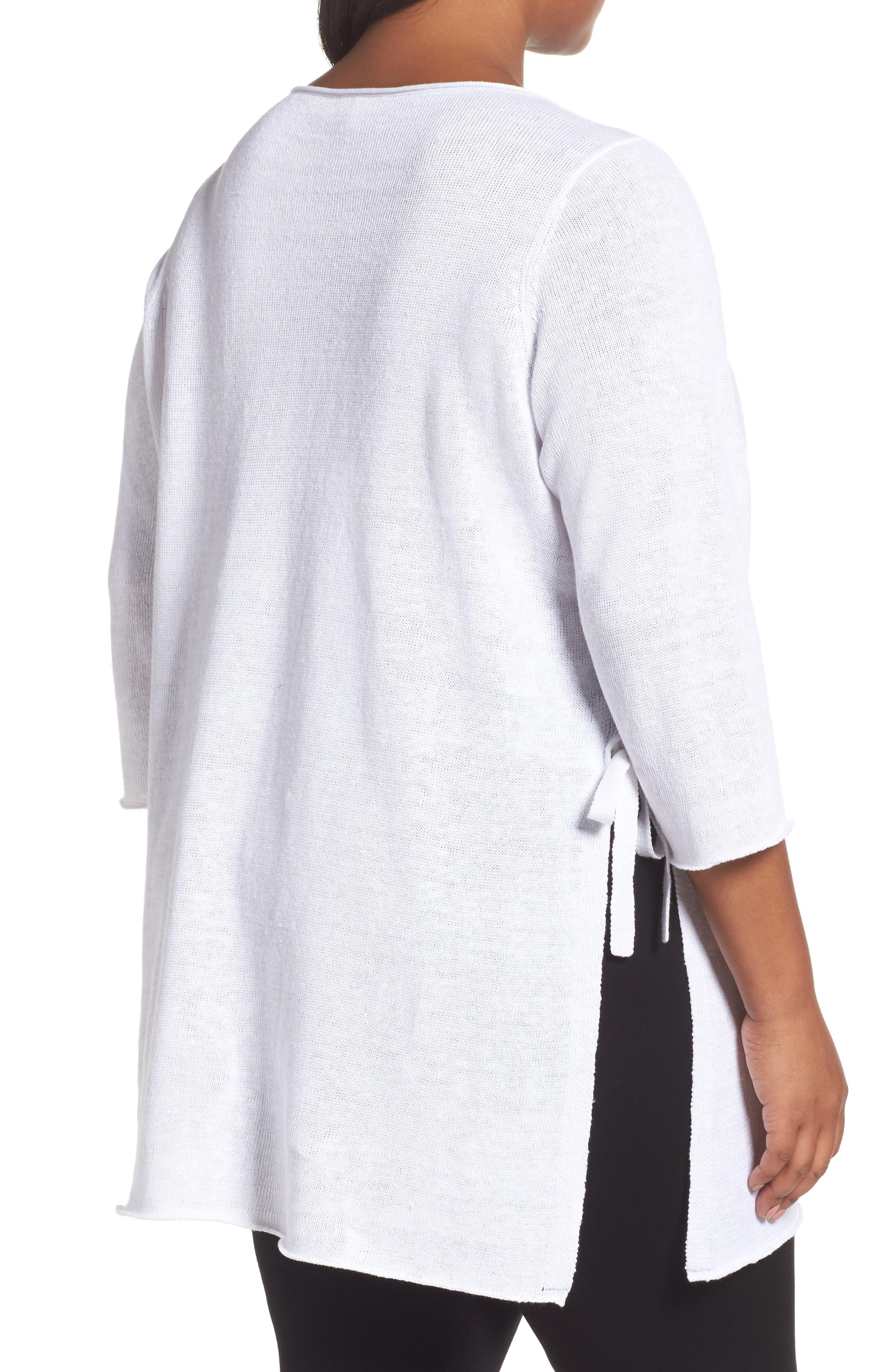 Side Tie Organic Linen Sweater,                             Alternate thumbnail 2, color,                             White