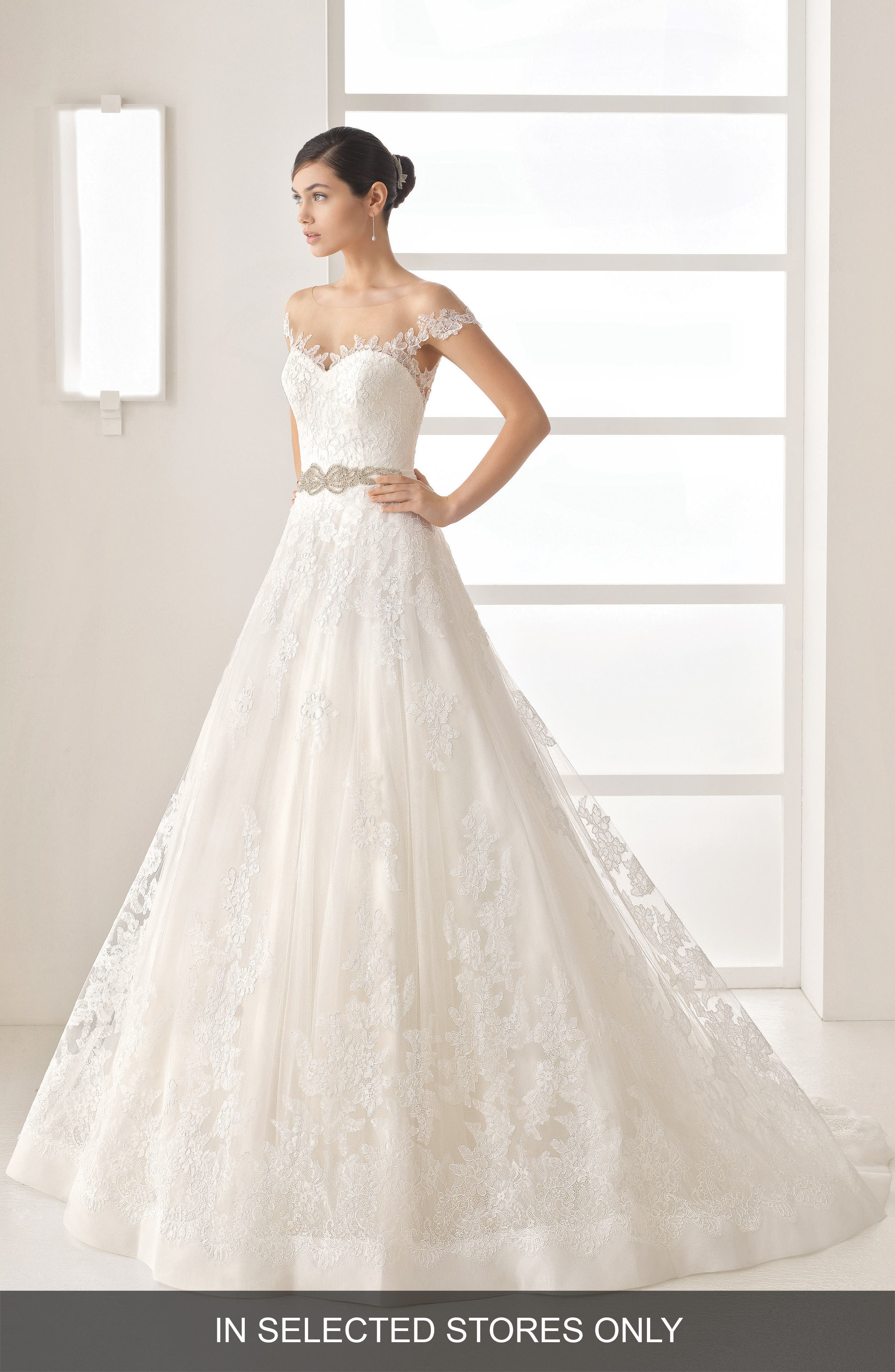 Olesa Illusion Off the Shoulder Lace & Tulle Gown,                         Main,                         color, Natural