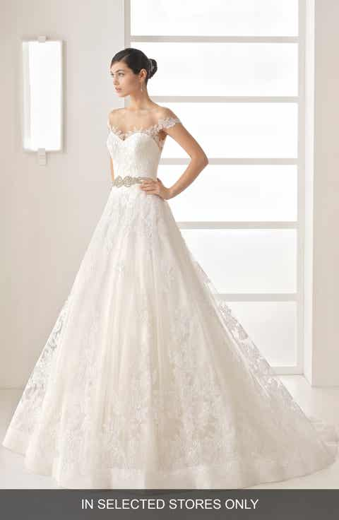Rosa Clara Olesa Illusion Off The Shoulder Lace Tulle Gown