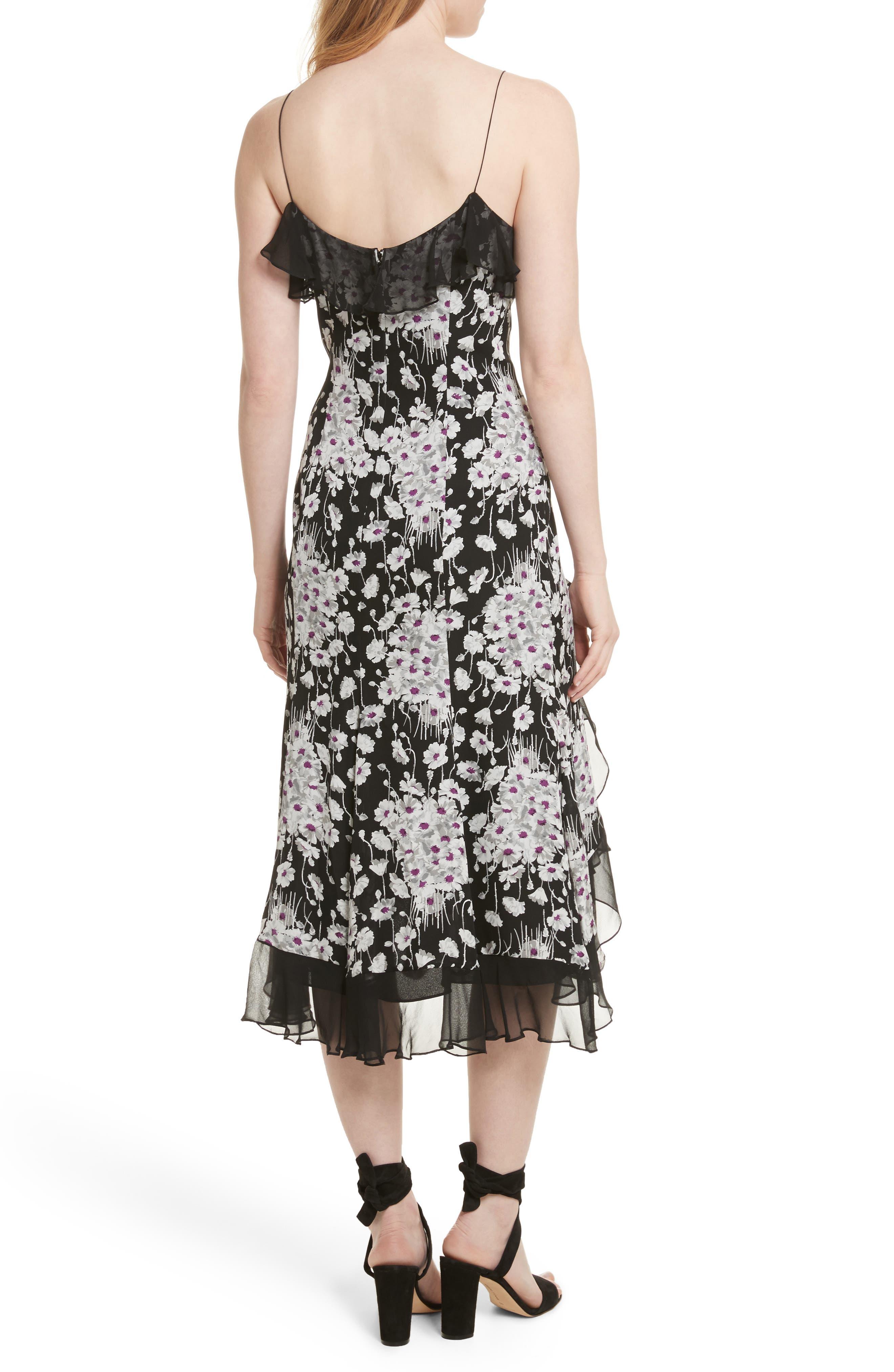 Joelle Ruffle Silk Dress,                             Alternate thumbnail 2, color,                             Black Multi