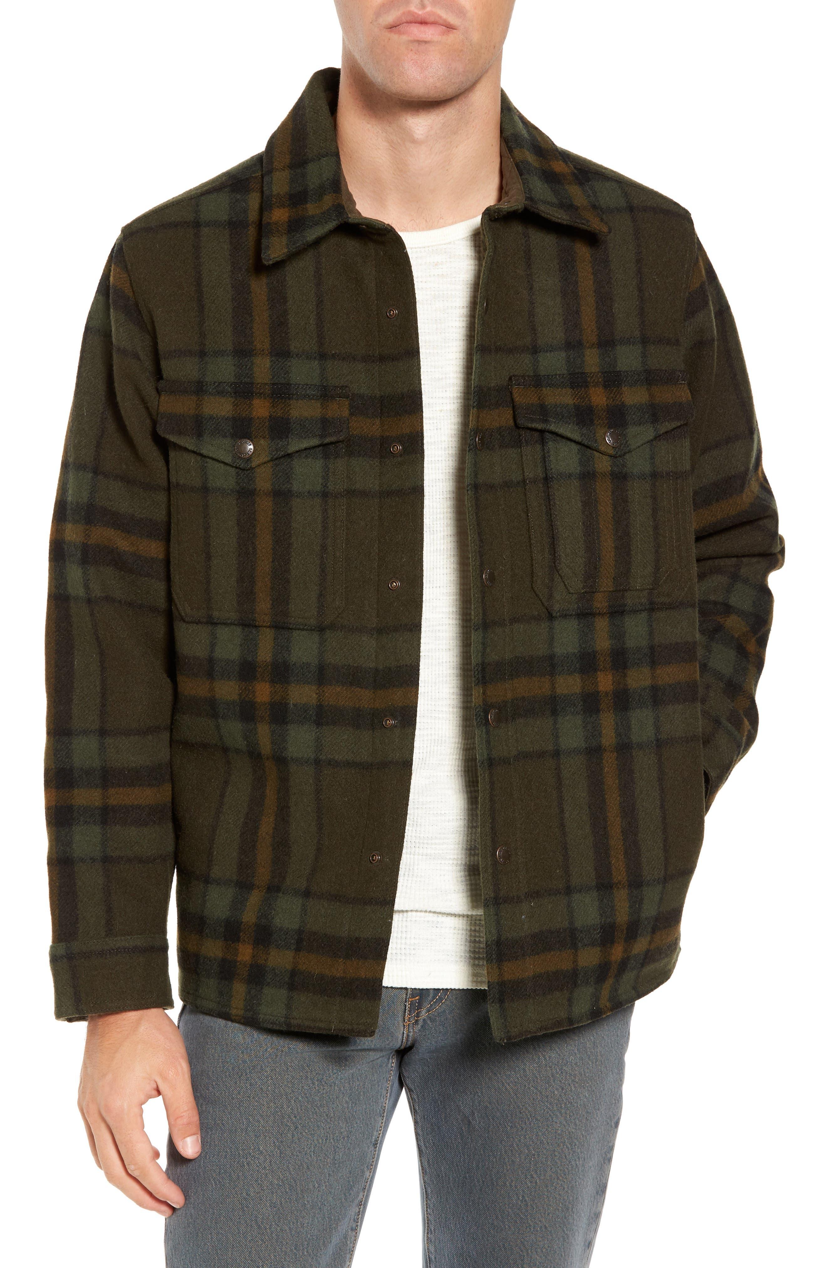 'Macinaw' Plaid Wool Flannel Shirt Jacket,                         Main,                         color, Olive/ Black