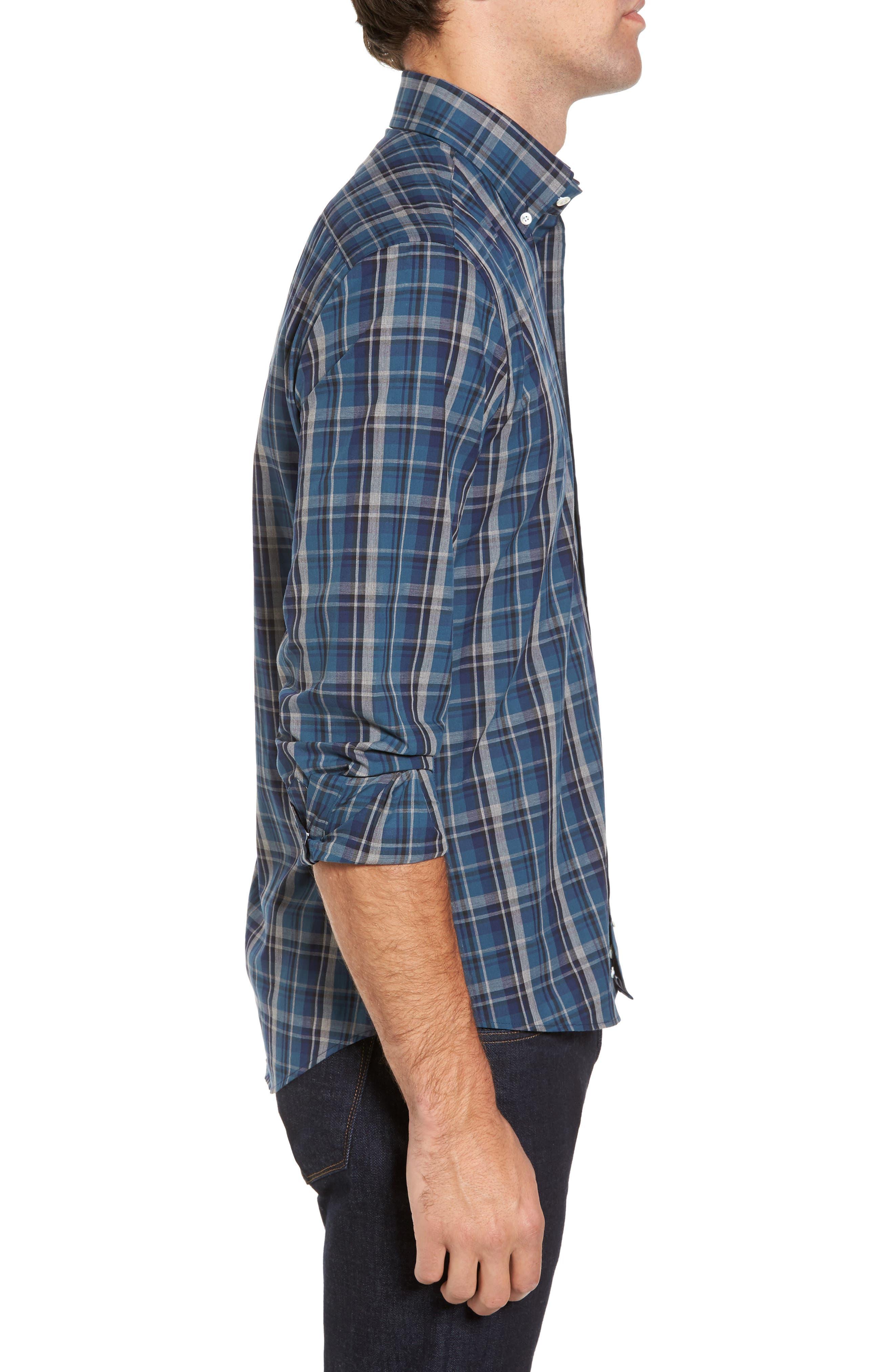 Slim Fit Plaid Sport Shirt,                             Alternate thumbnail 3, color,                             Dark Blue