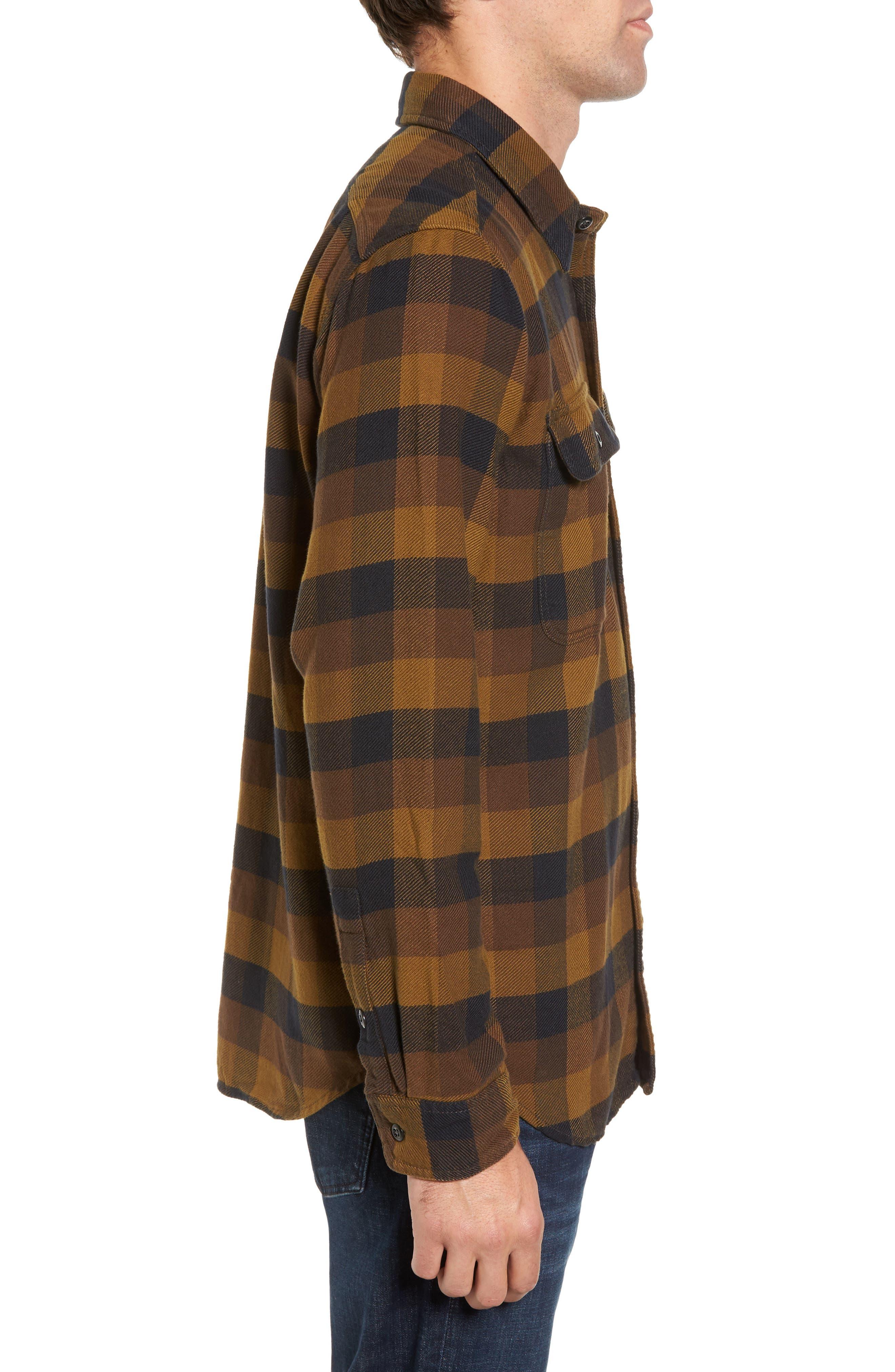'Vintage Flannel' Regular Fit Plaid Cotton Shirt,                             Alternate thumbnail 3, color,                             Brown/ Navy