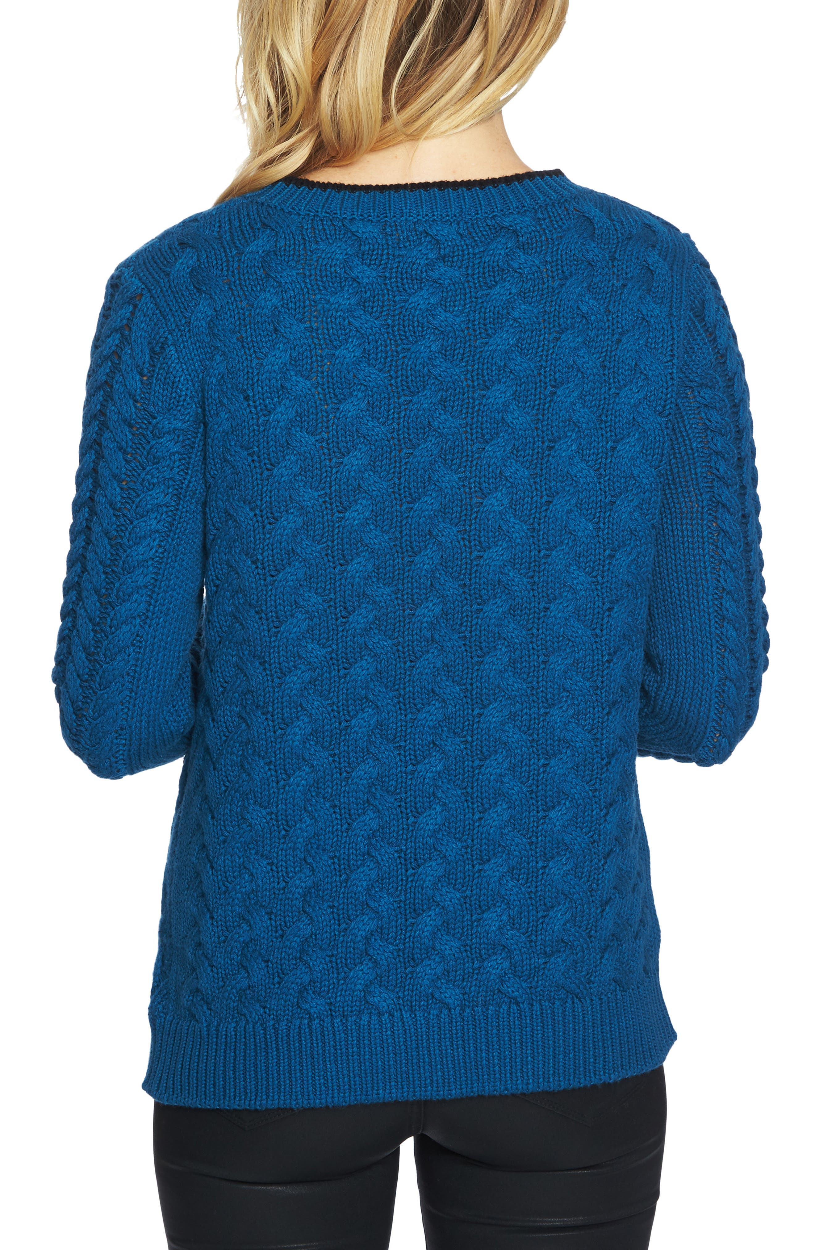 Double Layer Cable Stitch Sweater,                             Alternate thumbnail 2, color,                             Port Blue
