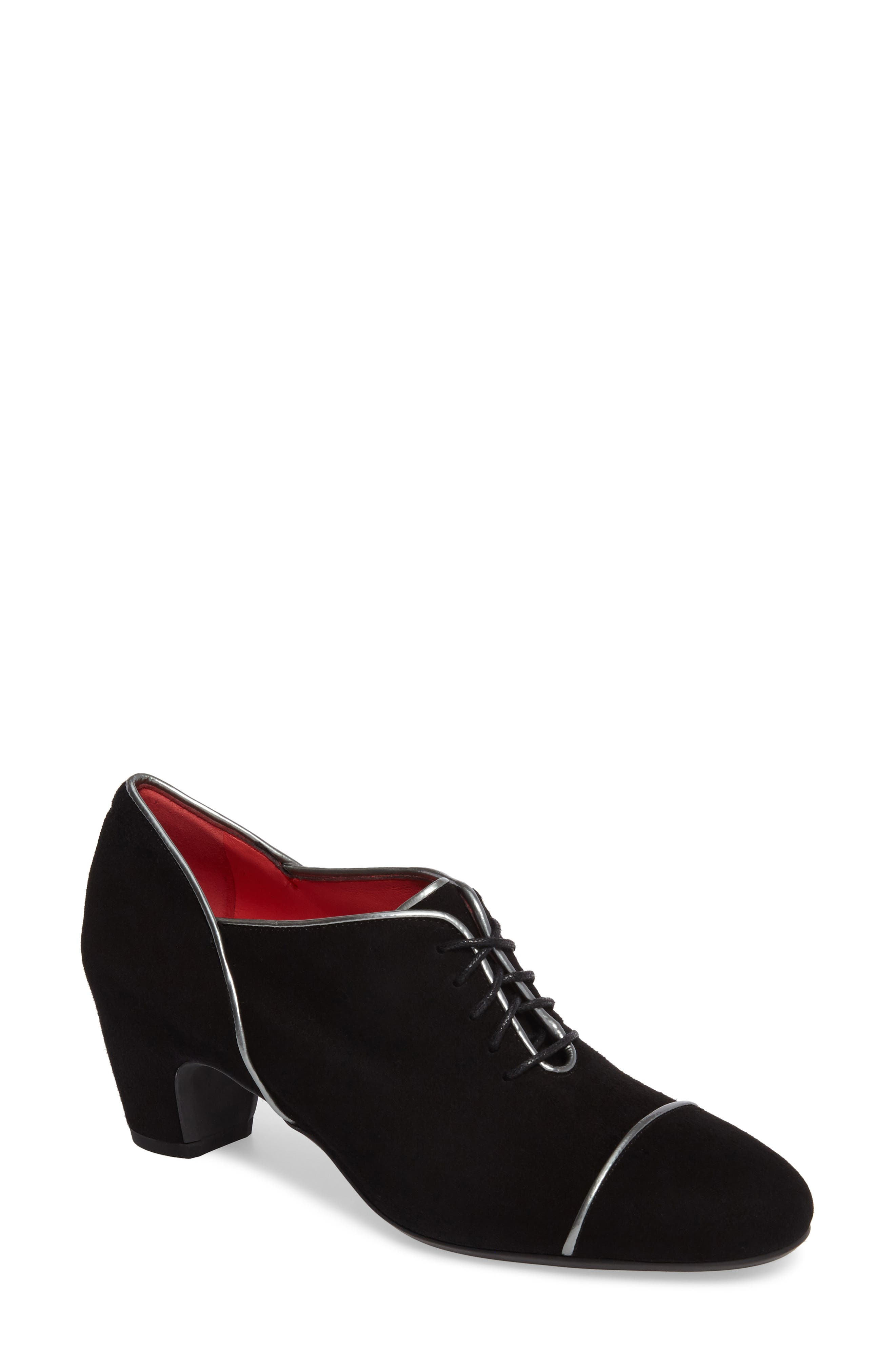 Lace-Up Pump,                             Main thumbnail 1, color,                             Black Suede/ Silver Leather