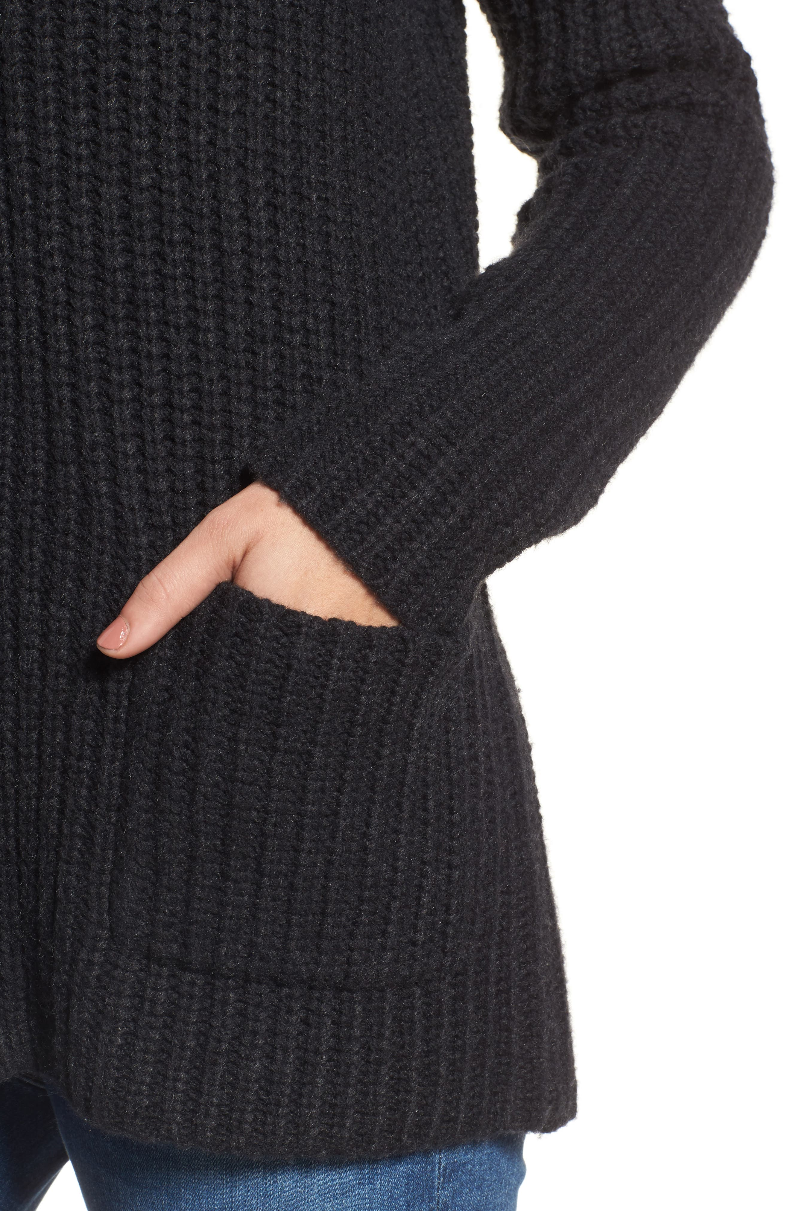 Textured Button Cardigan,                             Alternate thumbnail 4, color,                             Coal