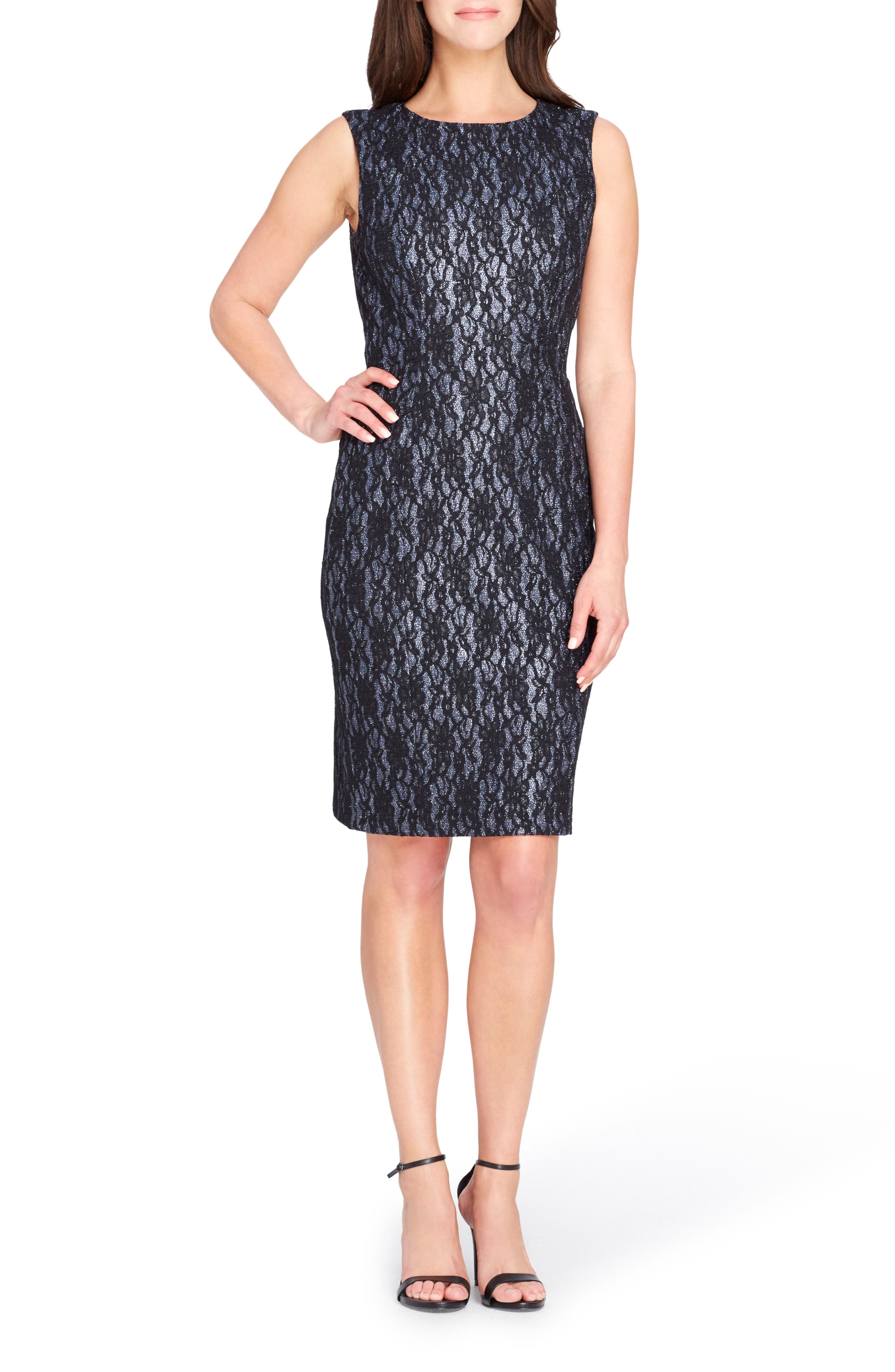 Bonded Lace Sheath Dress,                             Main thumbnail 1, color,                             Shadow/ Black