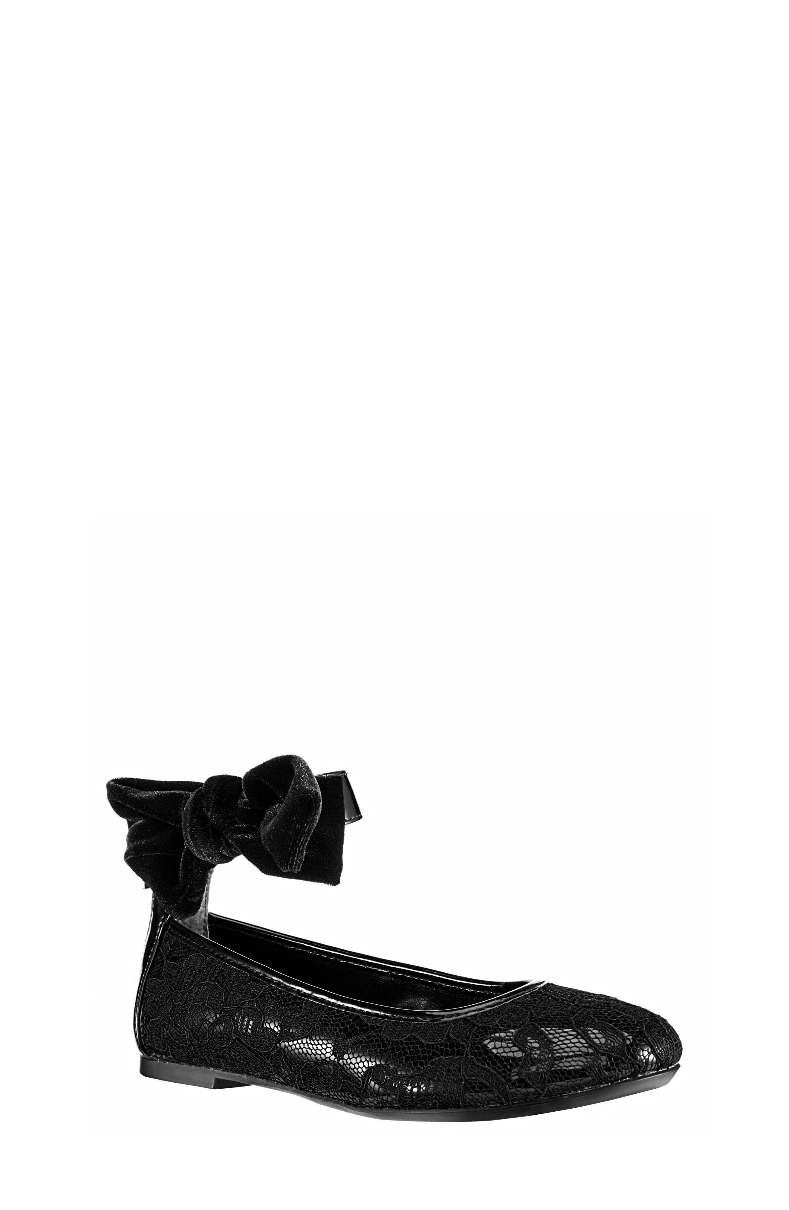 Alternate Image 1 Selected - Nina Maribeth Ankle Wrap Lace Ballet Flat (Little Kid & Big Kid)