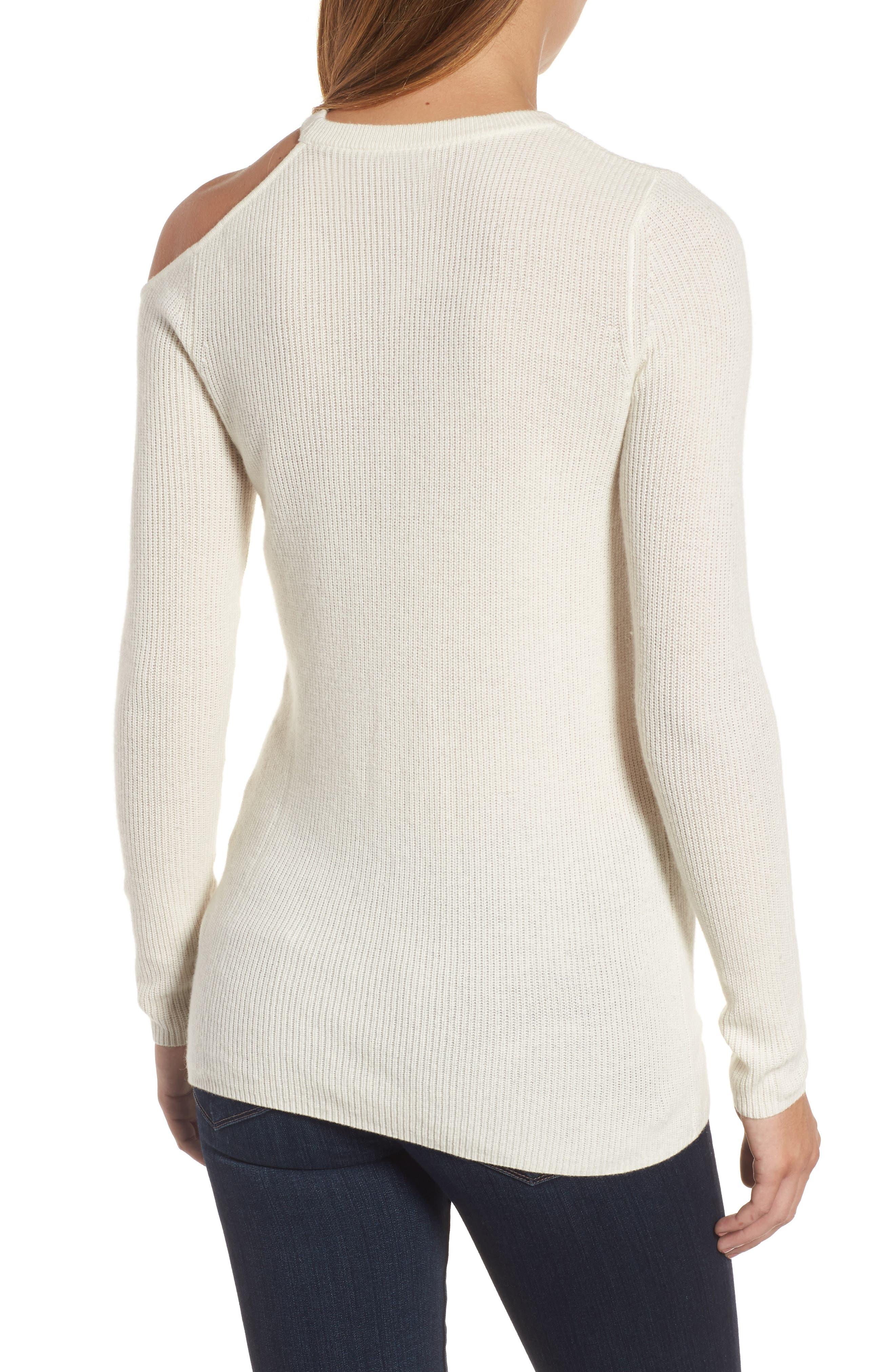 Cold Shoulder Cashmere Sweater,                             Alternate thumbnail 2, color,                             Milk