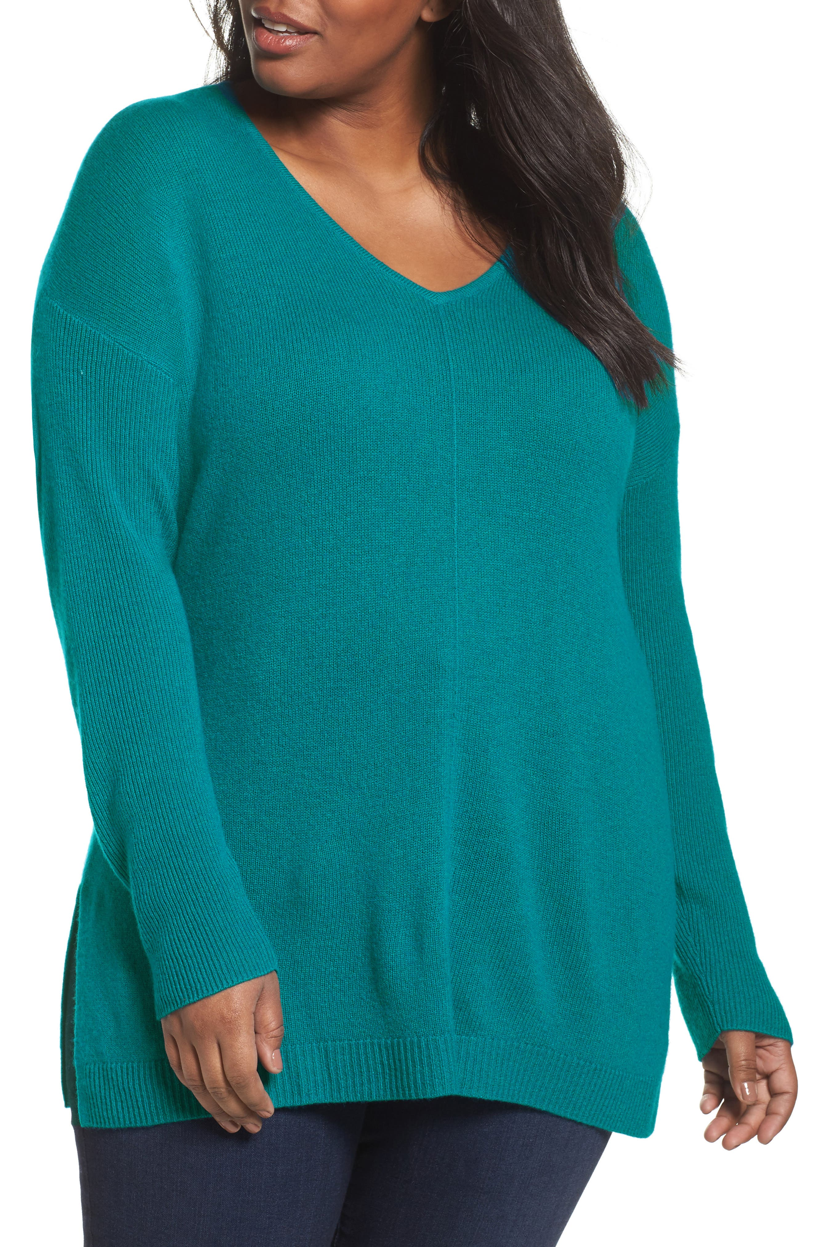 Main Image - Sejour Easy V-Neck Wool & Cashmere Pullover (Plus Size)