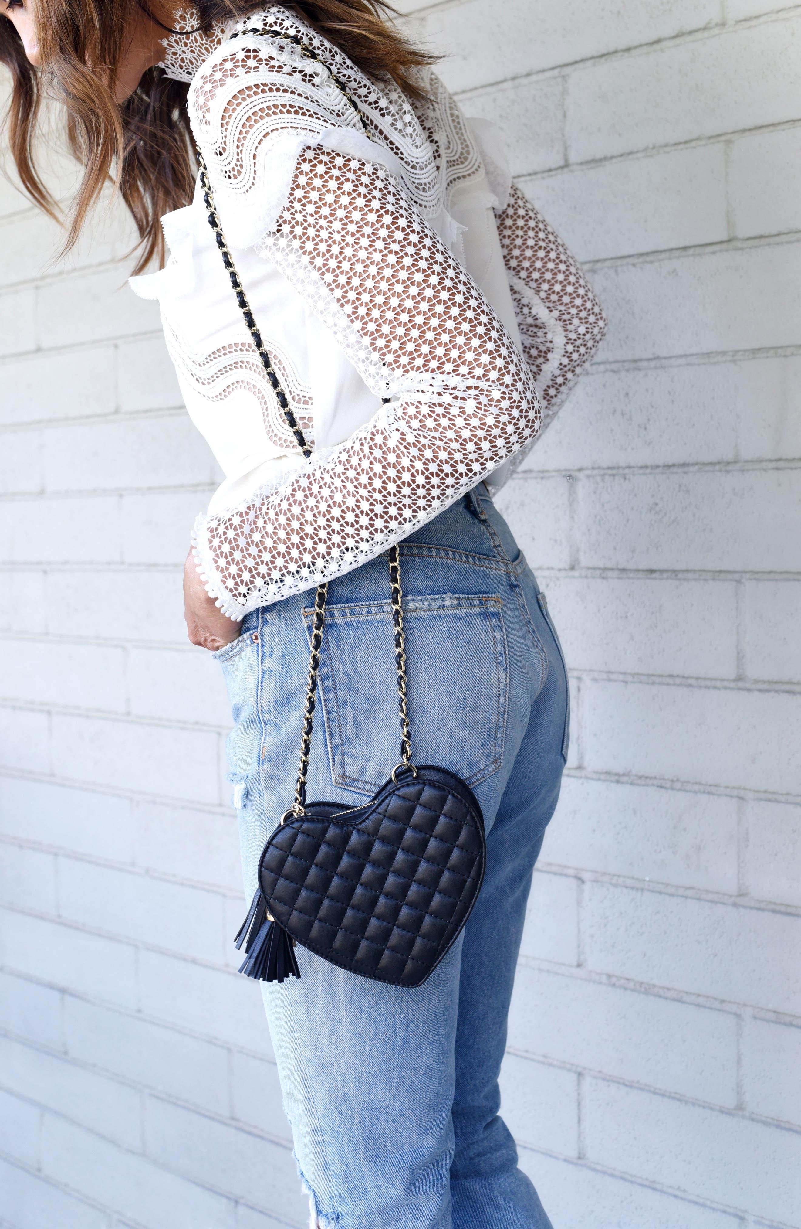 Mali + Lili Quilted Heart Vegan Leather Crossbody Bag,                             Alternate thumbnail 8, color,                             Black
