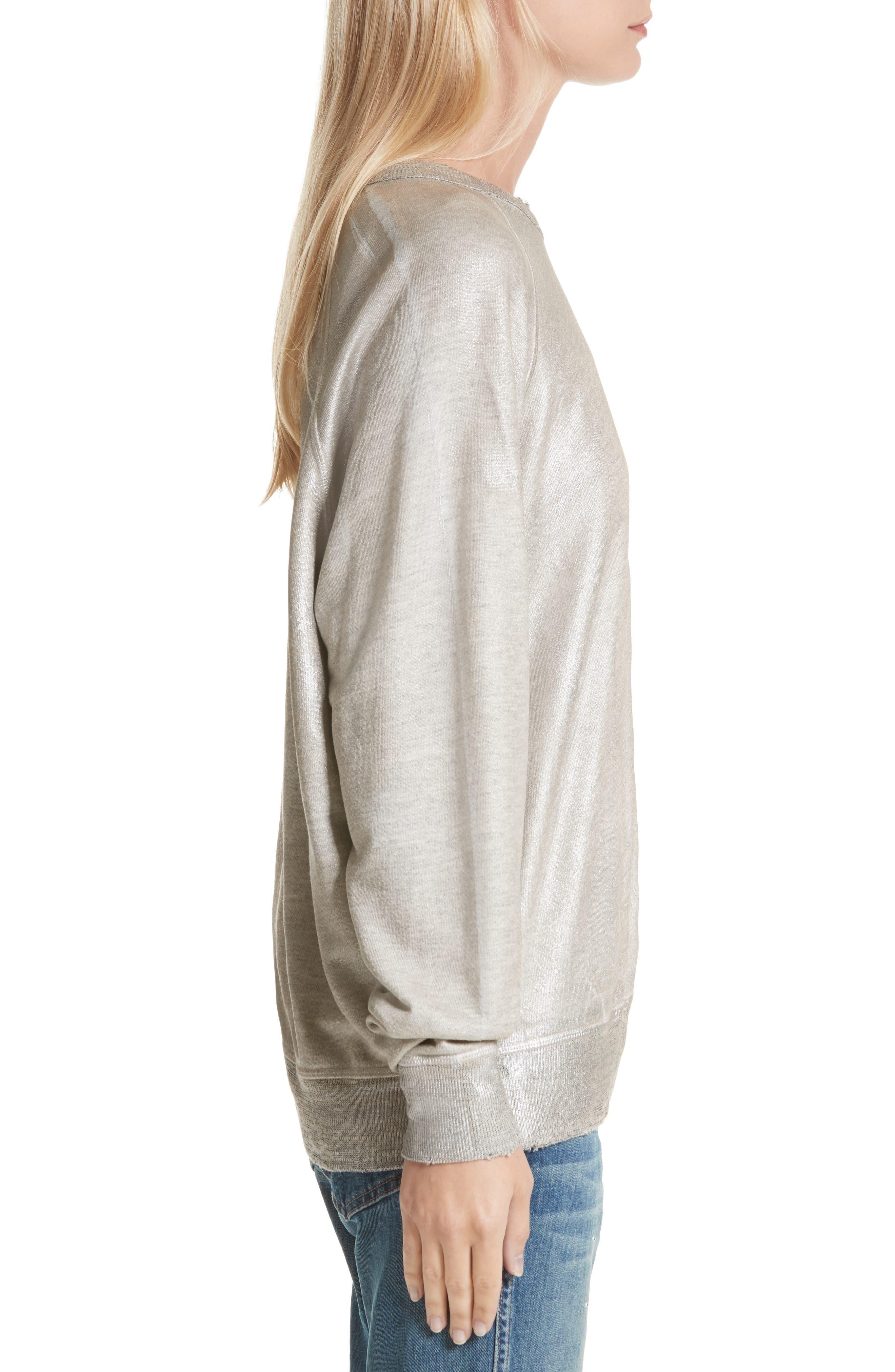 The College Metallic Foil Sweatshirt,                             Alternate thumbnail 4, color,                             Heather Grey