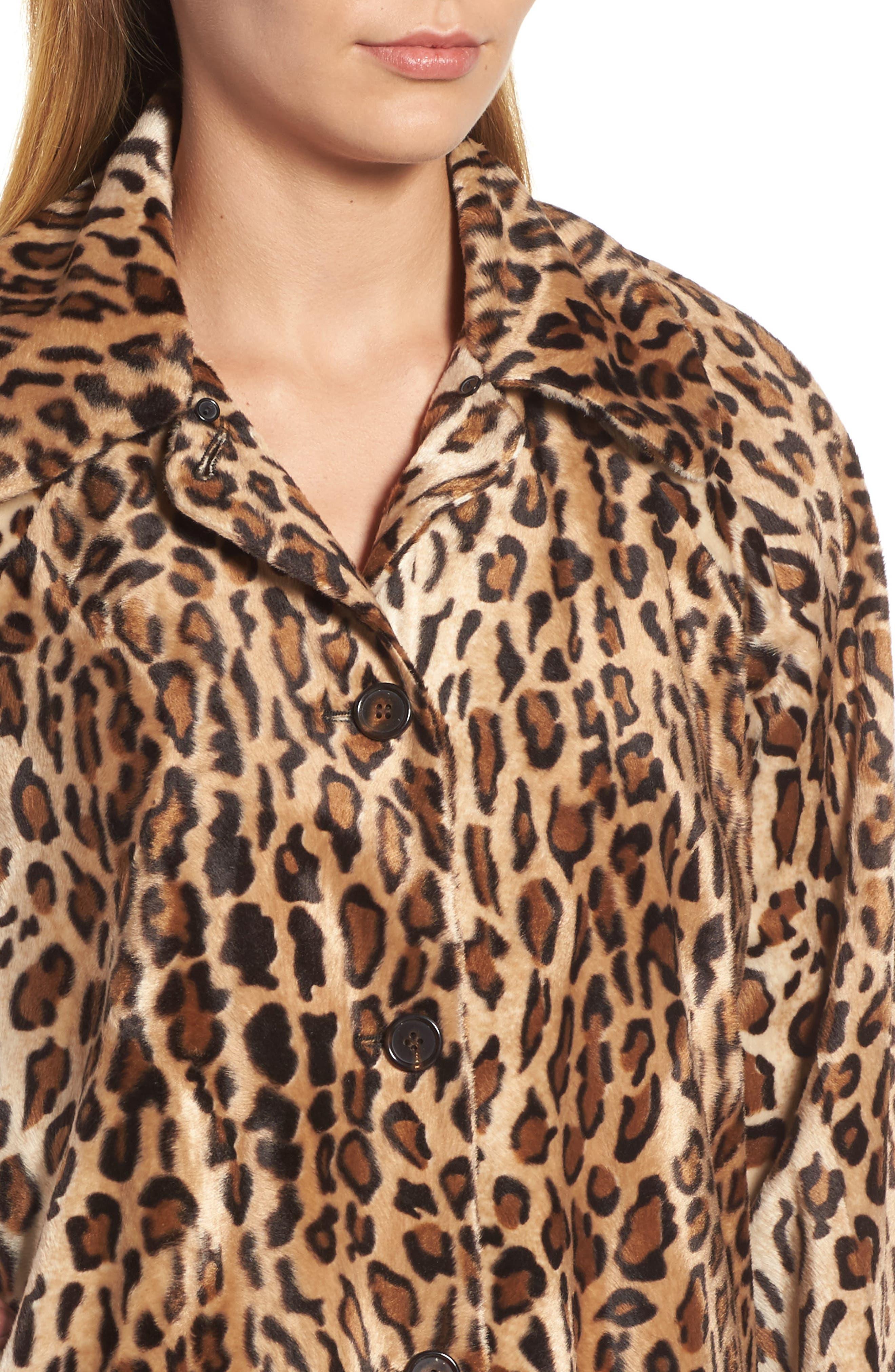 Faux Fur Leopard Jacket,                             Alternate thumbnail 4, color,                             Leopard