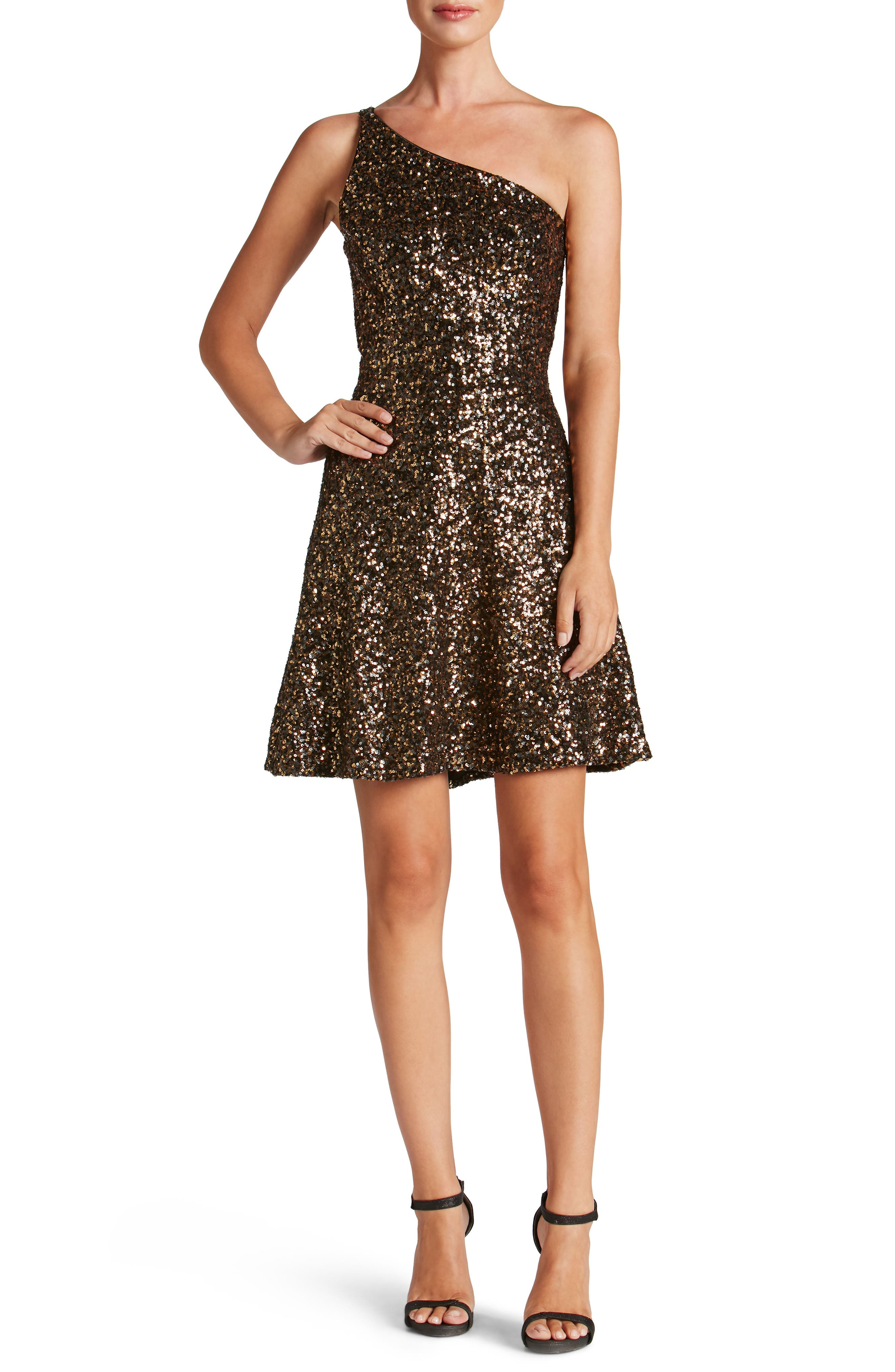 Tina One-Shoulder Sequin Fit & Flare Dress,                         Main,                         color, Antique Gold