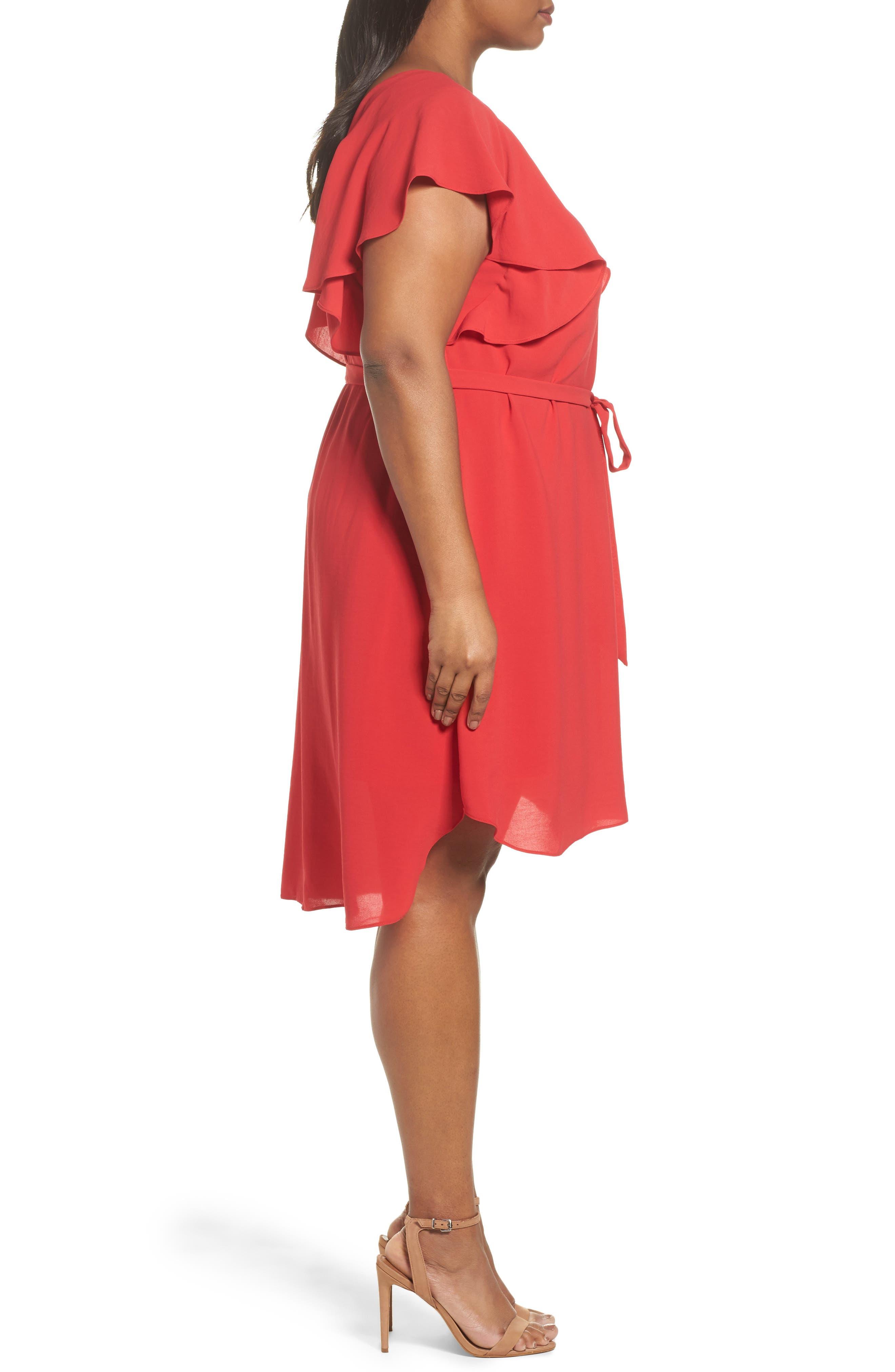 Crepe Flutter Sleeve Dress,                             Alternate thumbnail 3, color,                             Red Fire