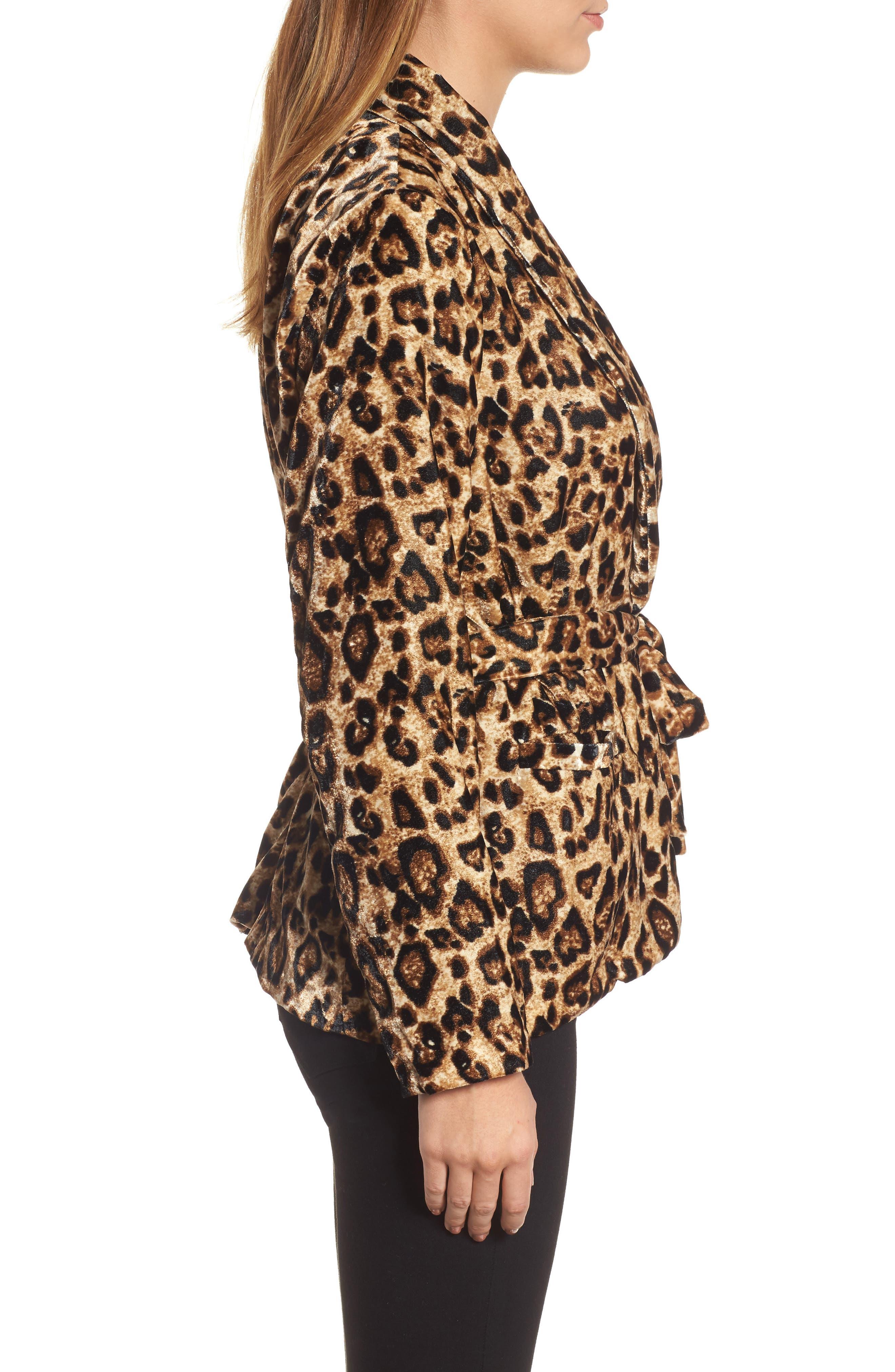 Velvet Belted Smoking Jacket,                             Alternate thumbnail 3, color,                             Leopard