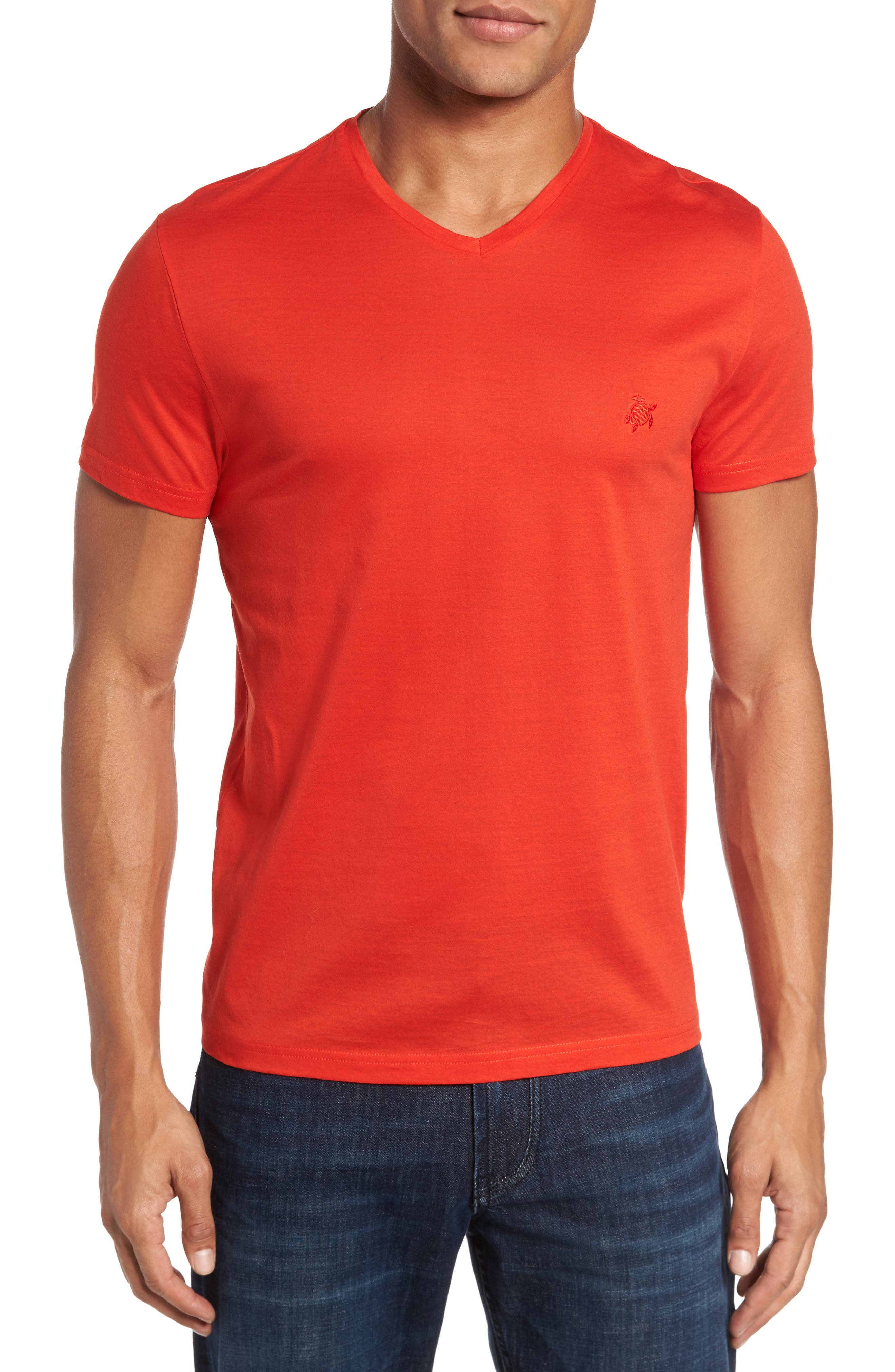 Classic Fit V-Neck T-Shirt,                         Main,                         color, Poppy Red