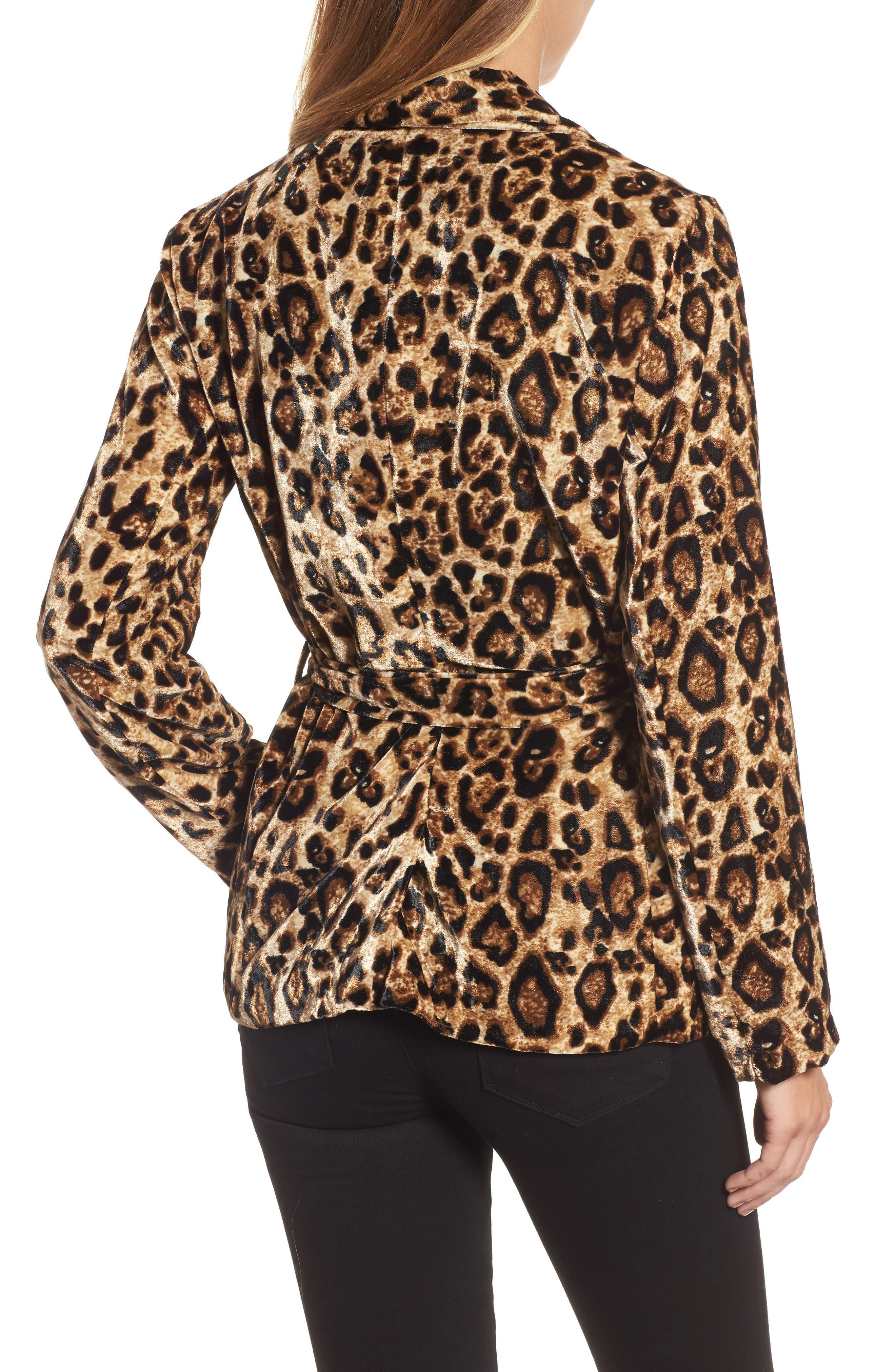 Velvet Belted Smoking Jacket,                             Alternate thumbnail 2, color,                             Leopard