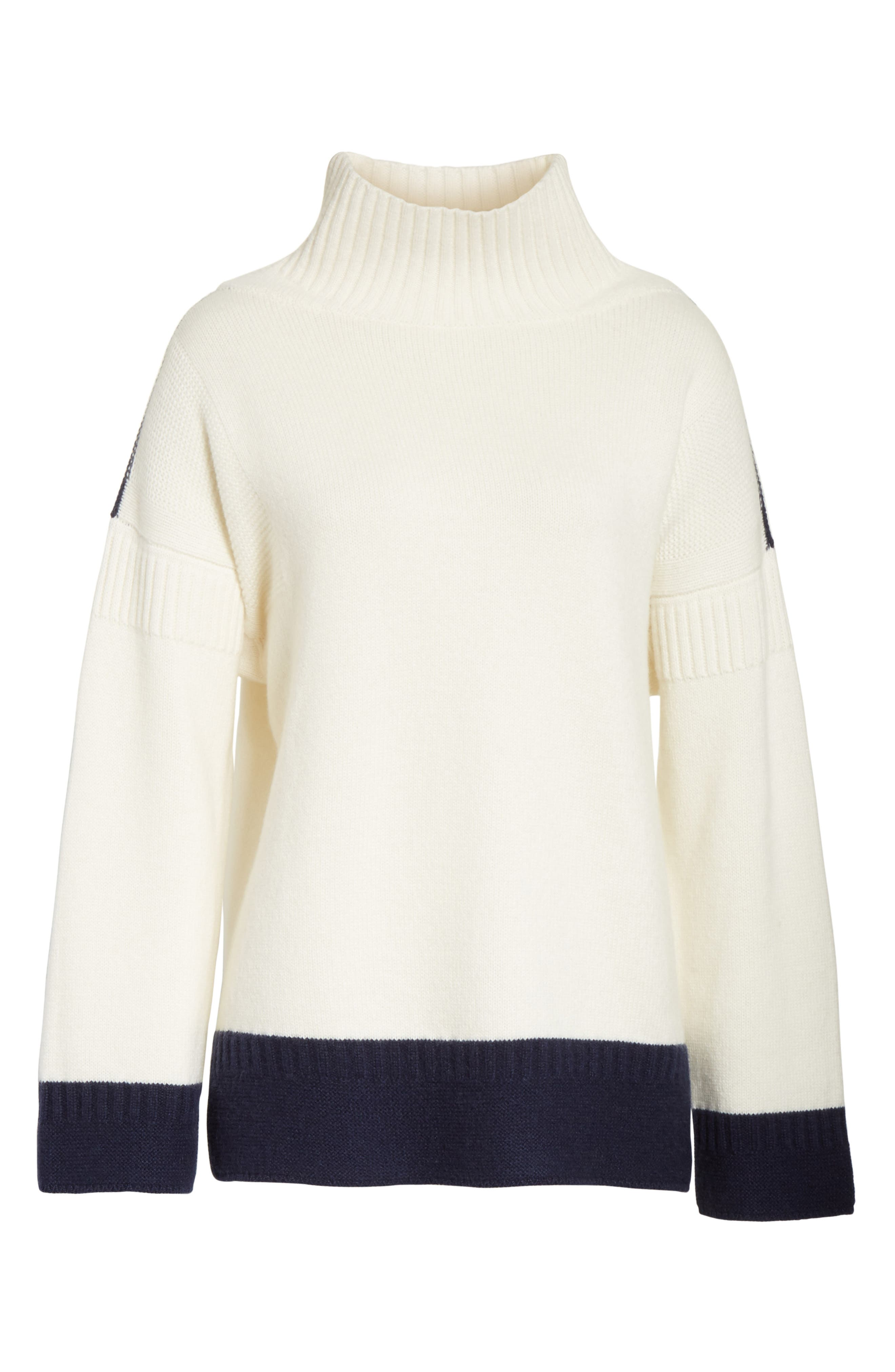 Aubree Funnel Neck Cashmere Sweater,                             Alternate thumbnail 6, color,                             Ivory/Navy