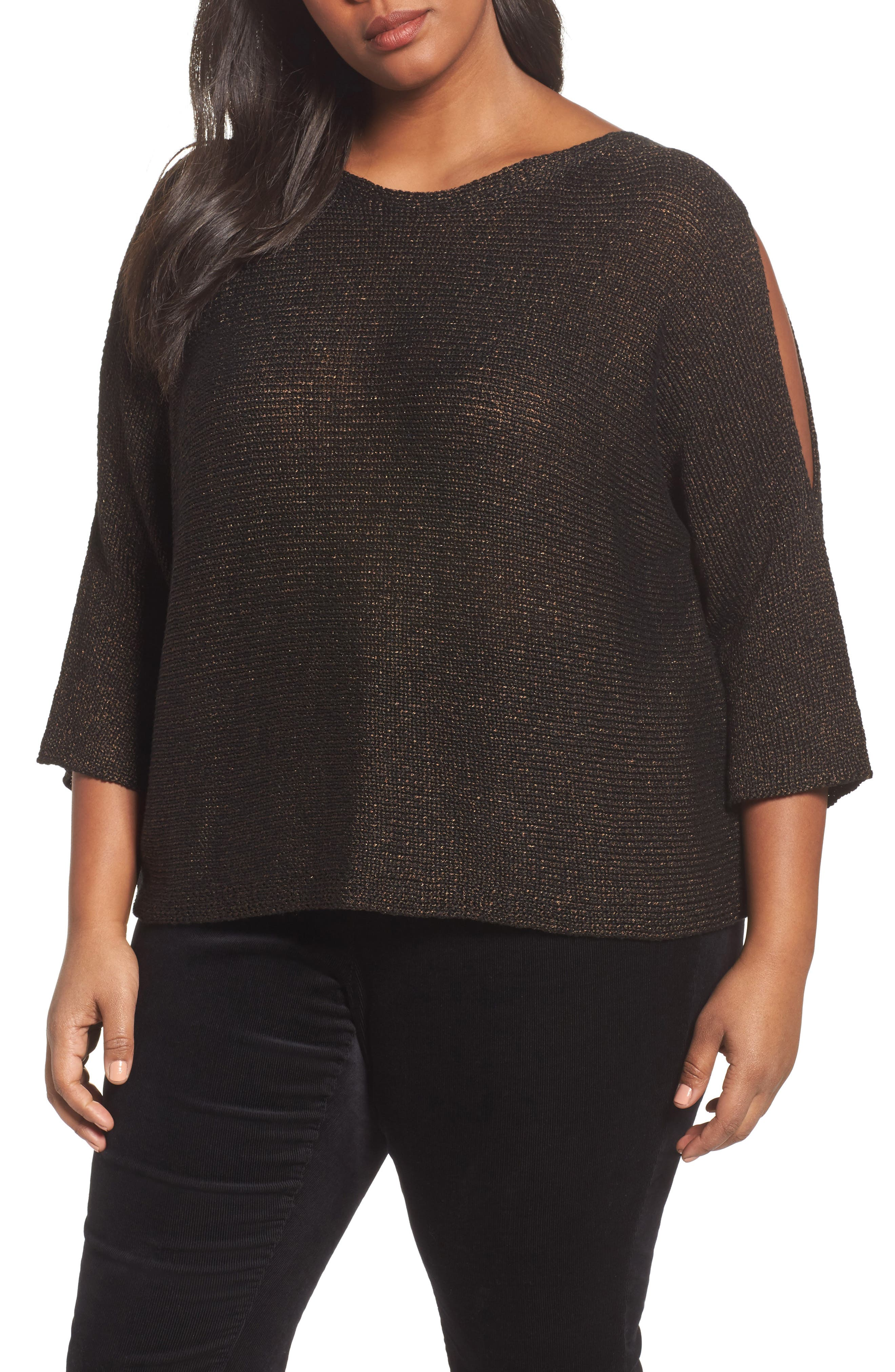 Alternate Image 1 Selected - Eileen Fisher Metallic Organic Linen Blend Sweater (Plus Size)
