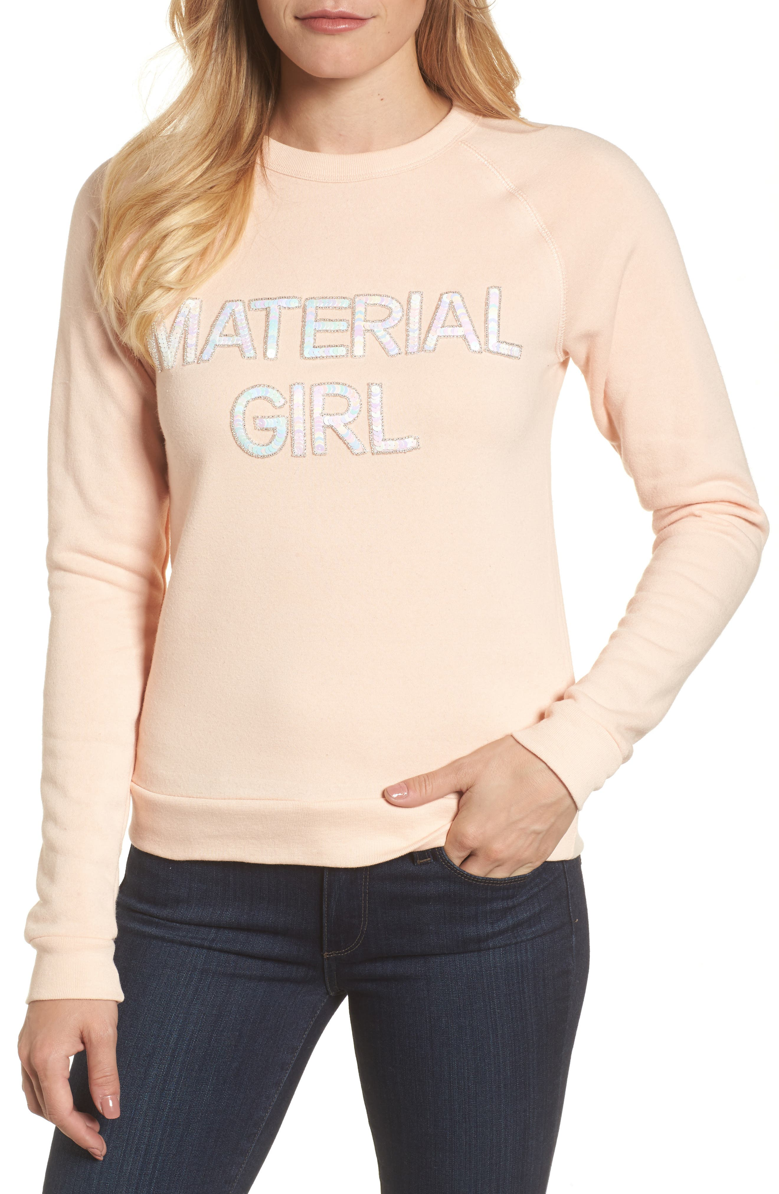 Material Girl Sweatshirt,                         Main,                         color, Blush
