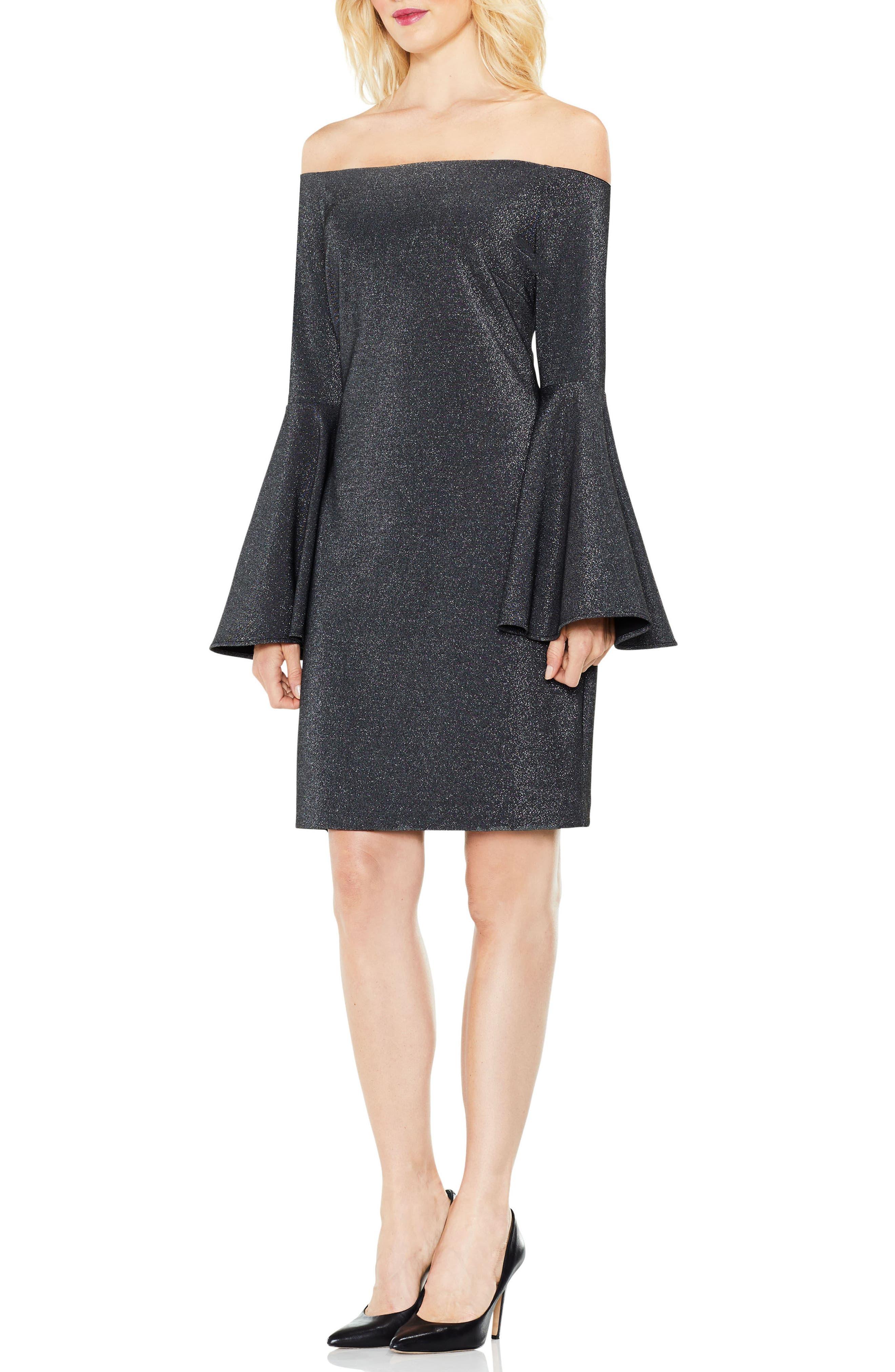 Off the Shoulder Metallic Knit Dress,                             Alternate thumbnail 4, color,                             Rich Black