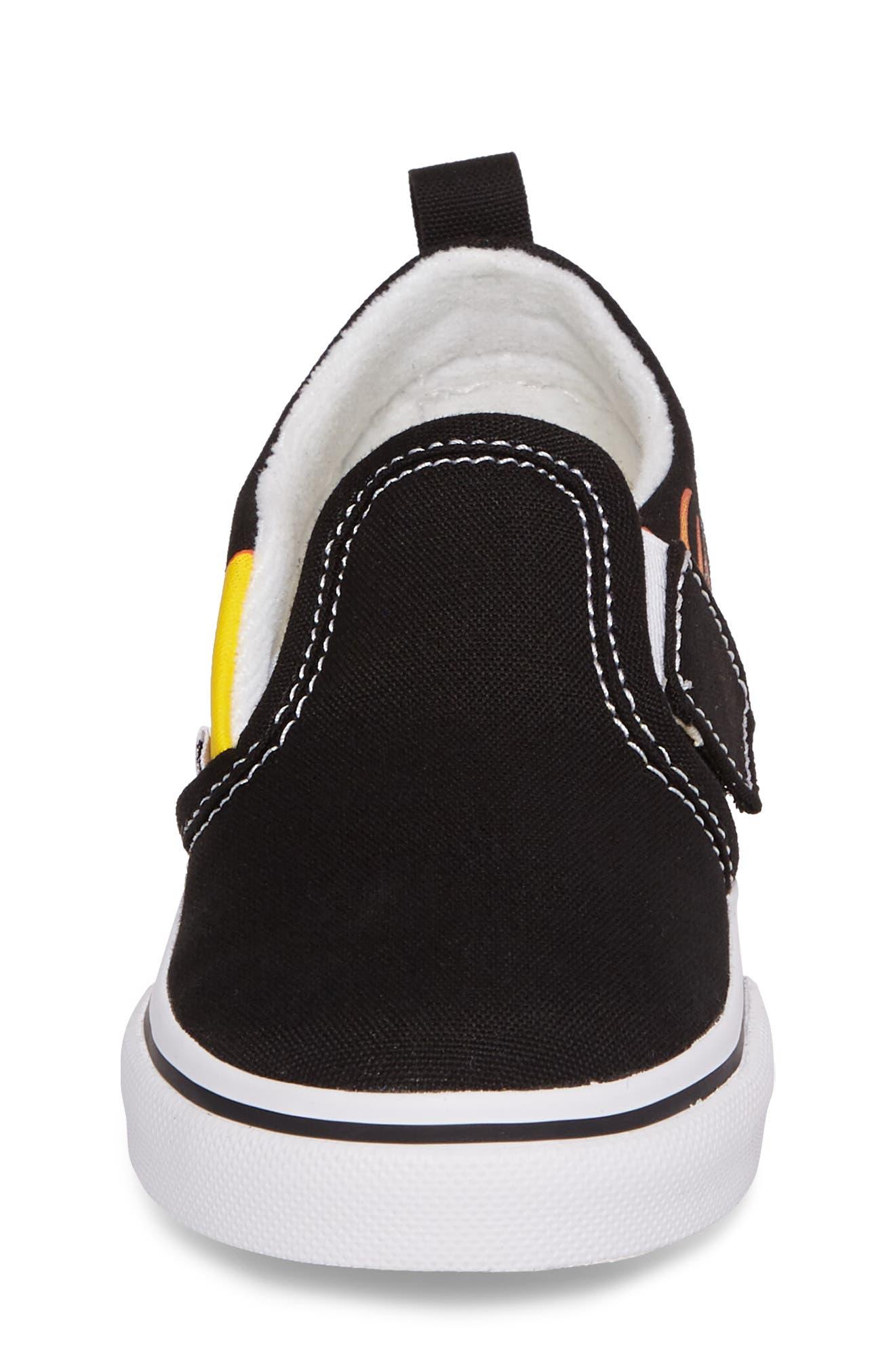 Slip-On V Sneaker,                             Alternate thumbnail 4, color,                             Flame Black/ True White