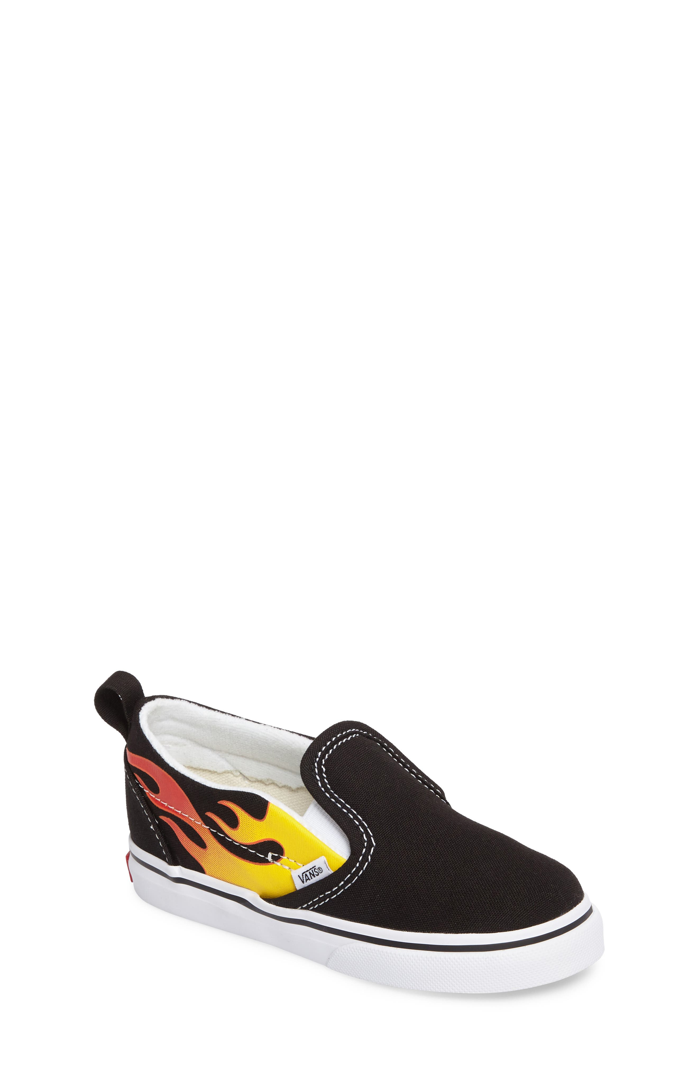 Slip-On V Sneaker,                             Main thumbnail 1, color,                             Flame Black/ True White