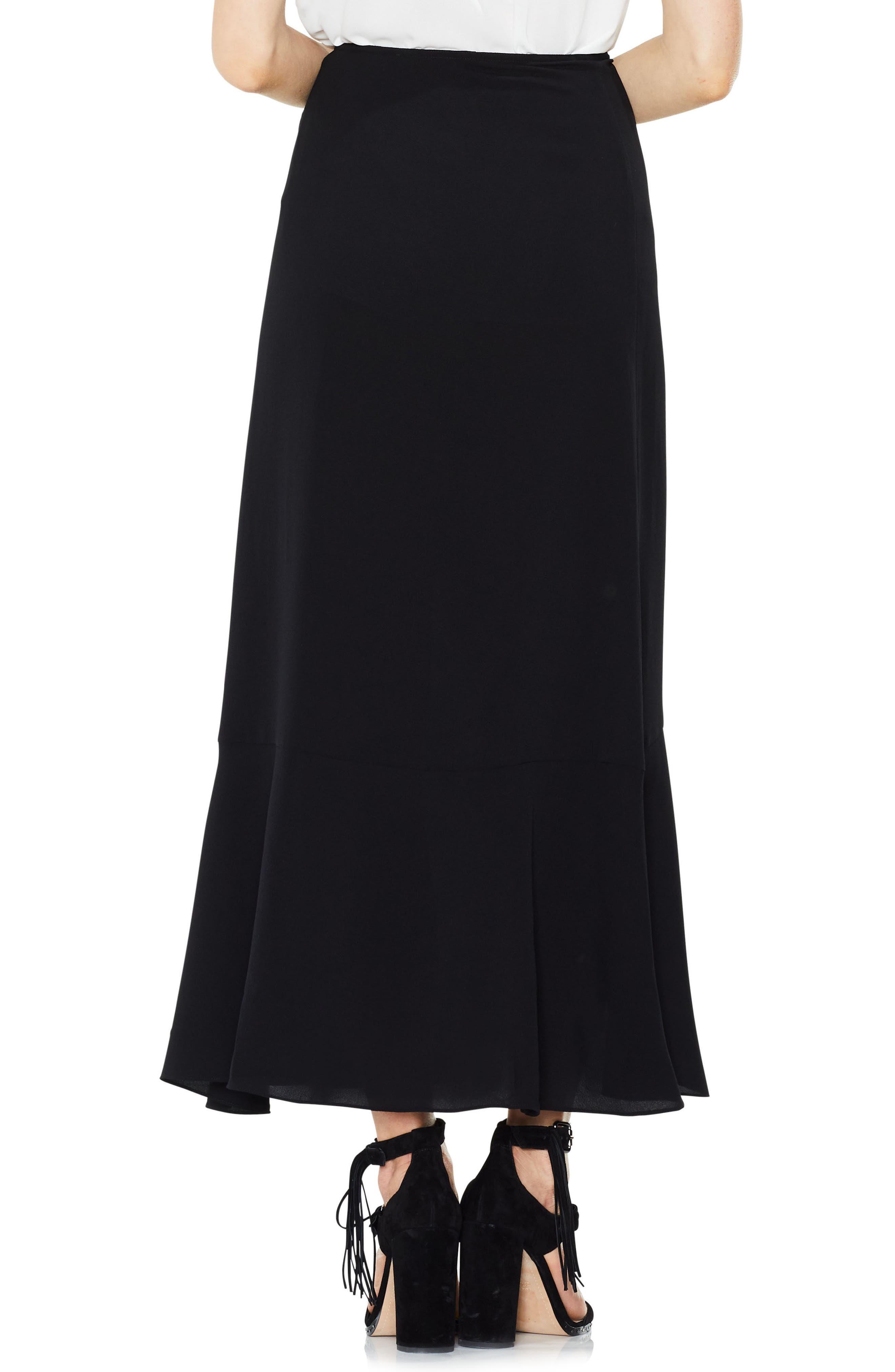 Ruffle Faux Wrap Skirt,                             Alternate thumbnail 2, color,                             Rich Black
