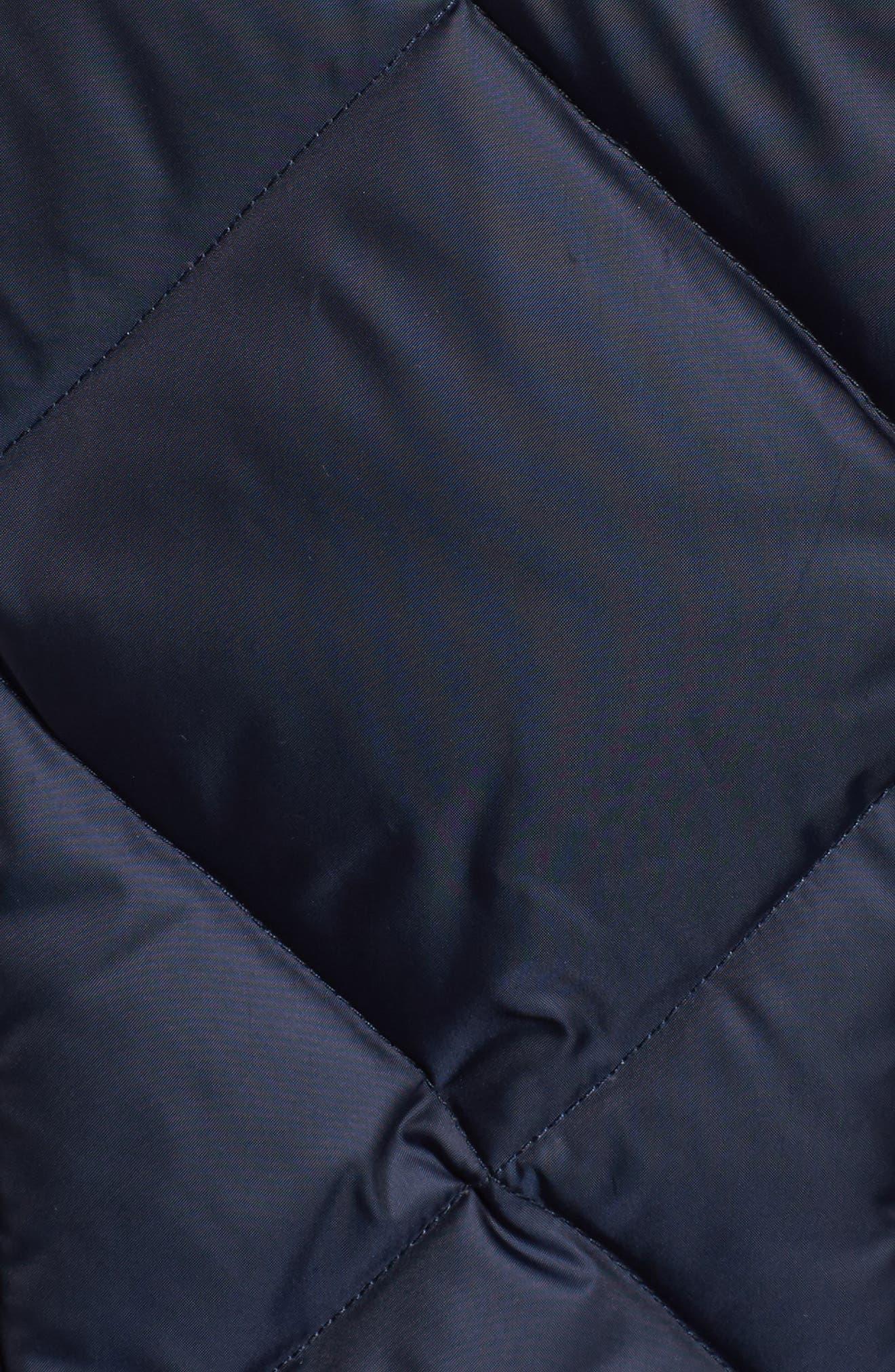Hooded Coat with Genuine Coyote Fur Trim,                             Alternate thumbnail 6, color,                             Denim