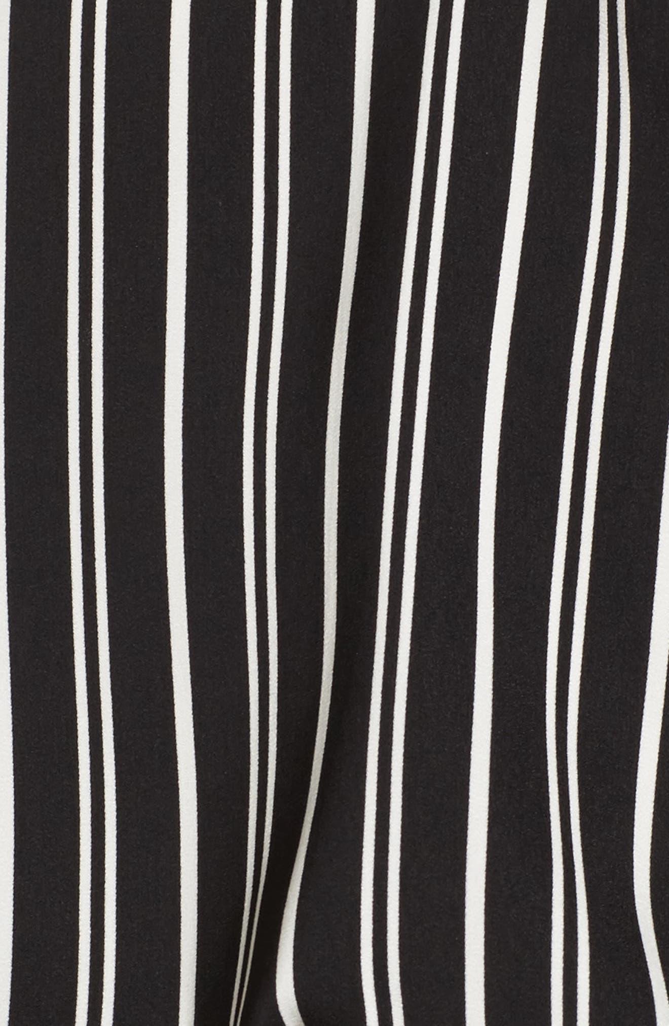 Ophelia Stripe Flare Cuff Top,                             Alternate thumbnail 5, color,                             Black W/ Ivory