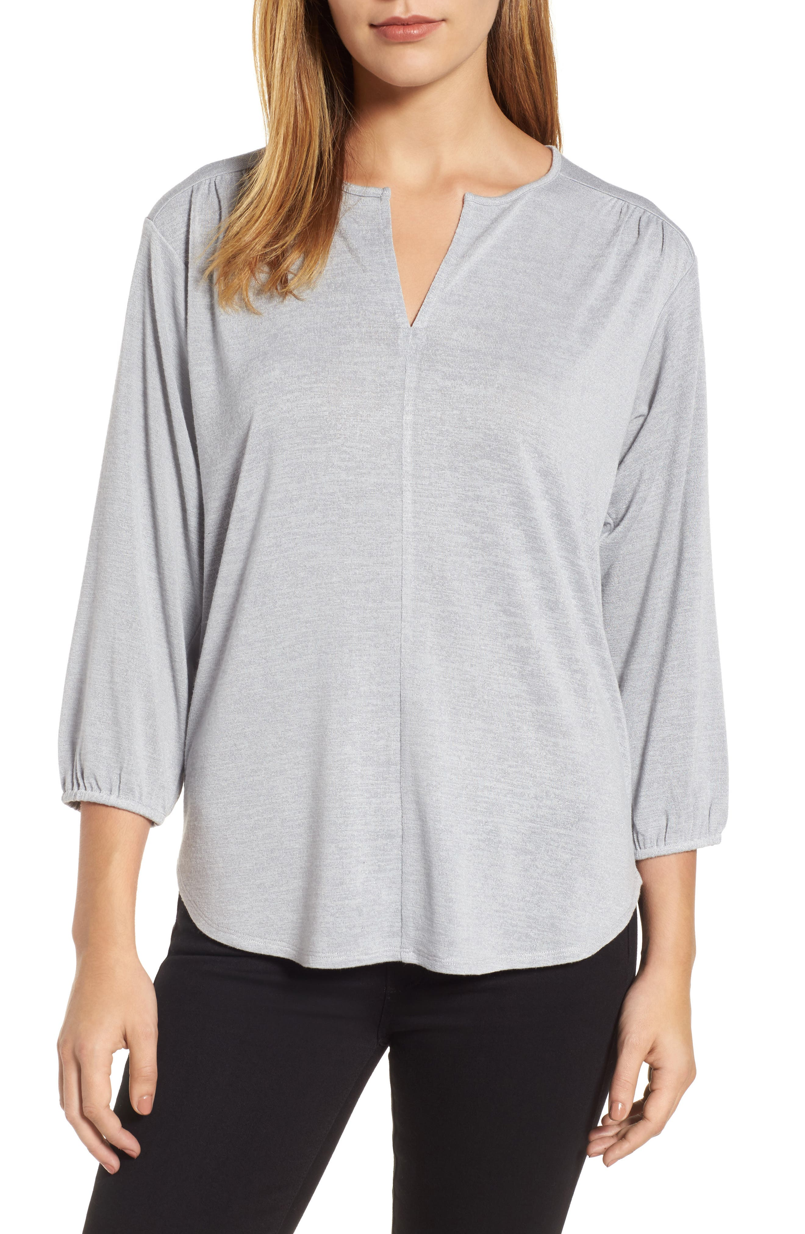 Snowfall Stretch Knit Top,                         Main,                         color, Icy Grey