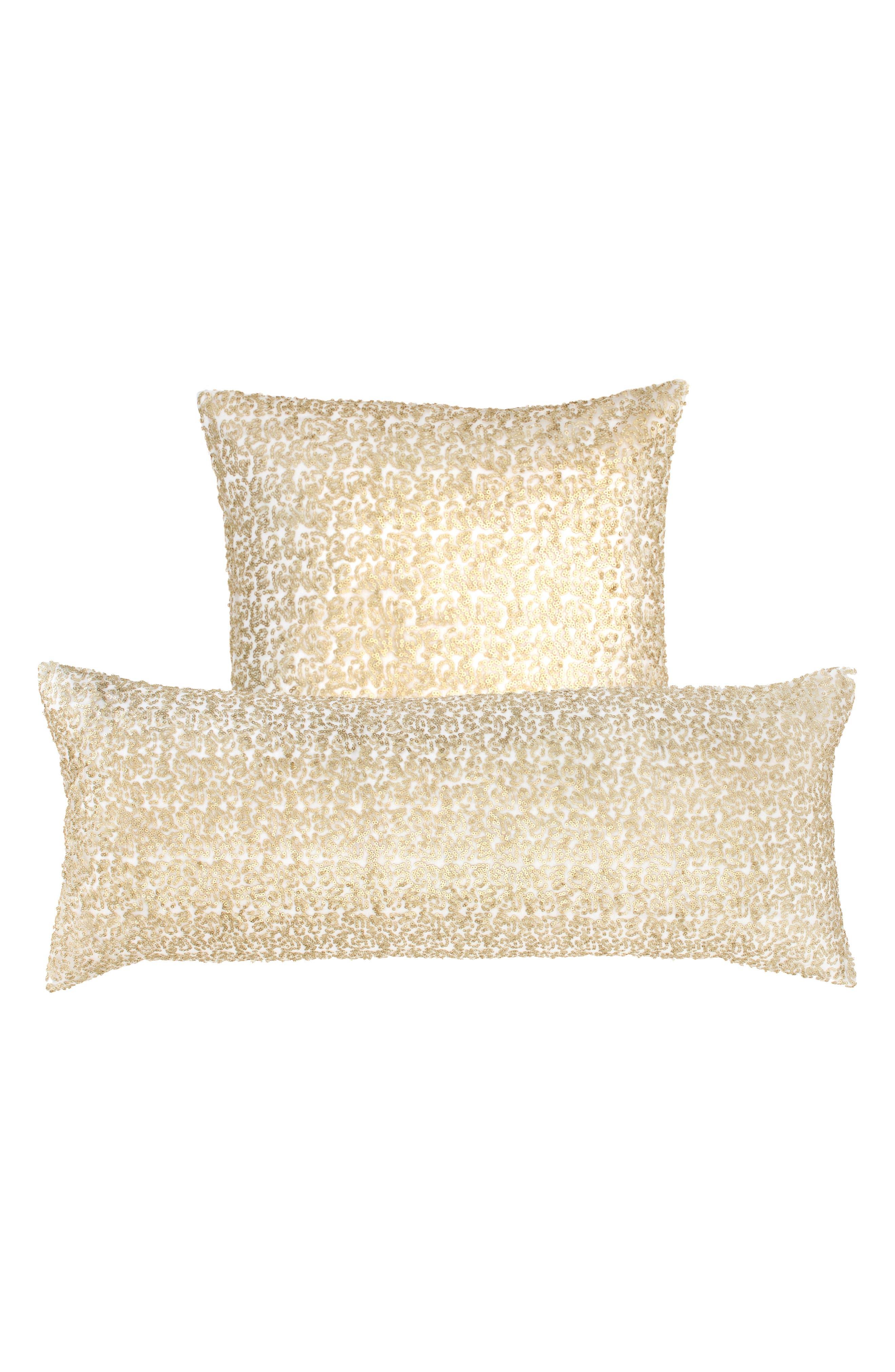 Glaze Sequin Boudoir Pillow,                             Alternate thumbnail 2, color,                             Ivory