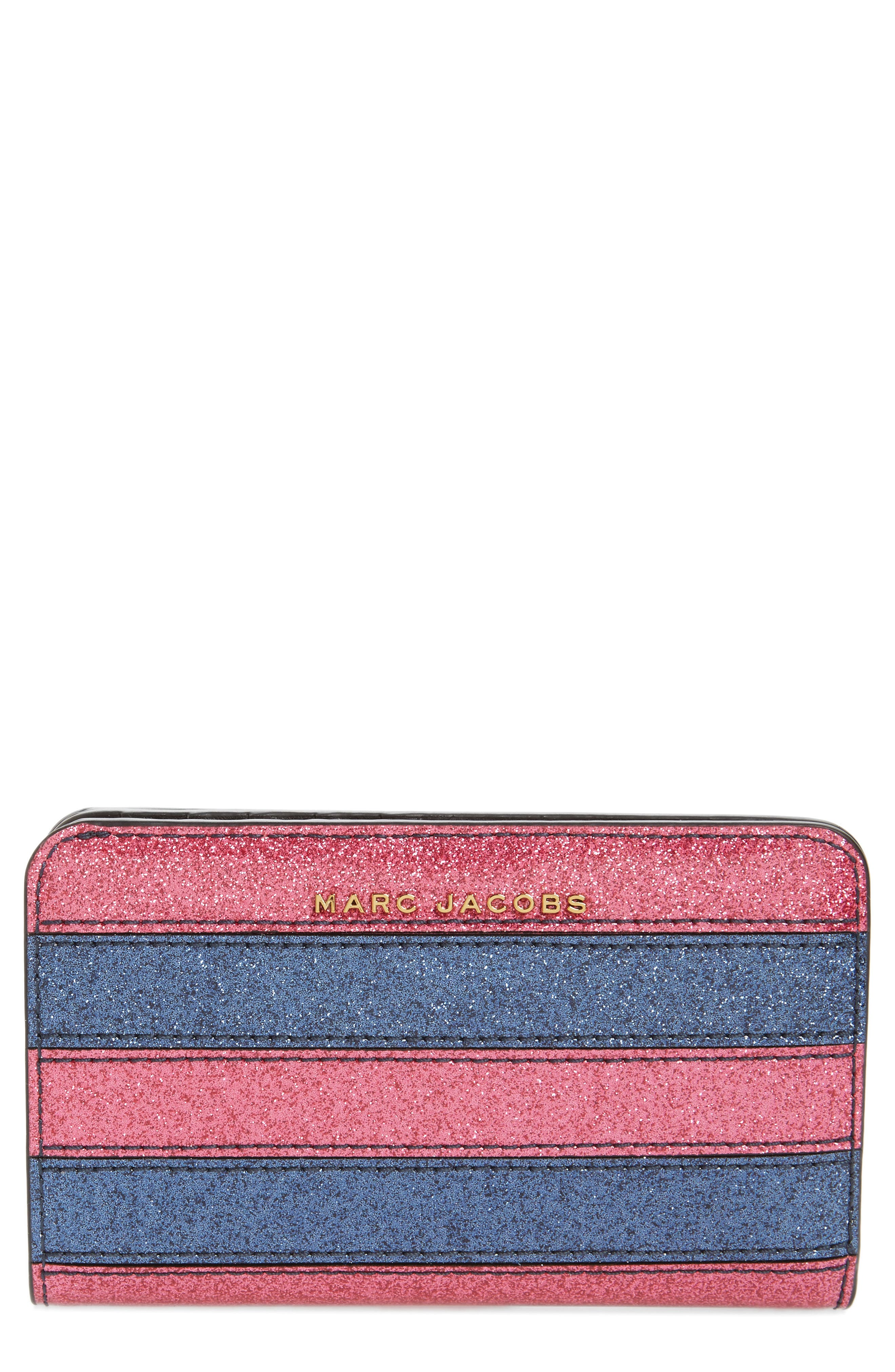 MARC JACOBS Glitter Stripe Compact Leather Wallet